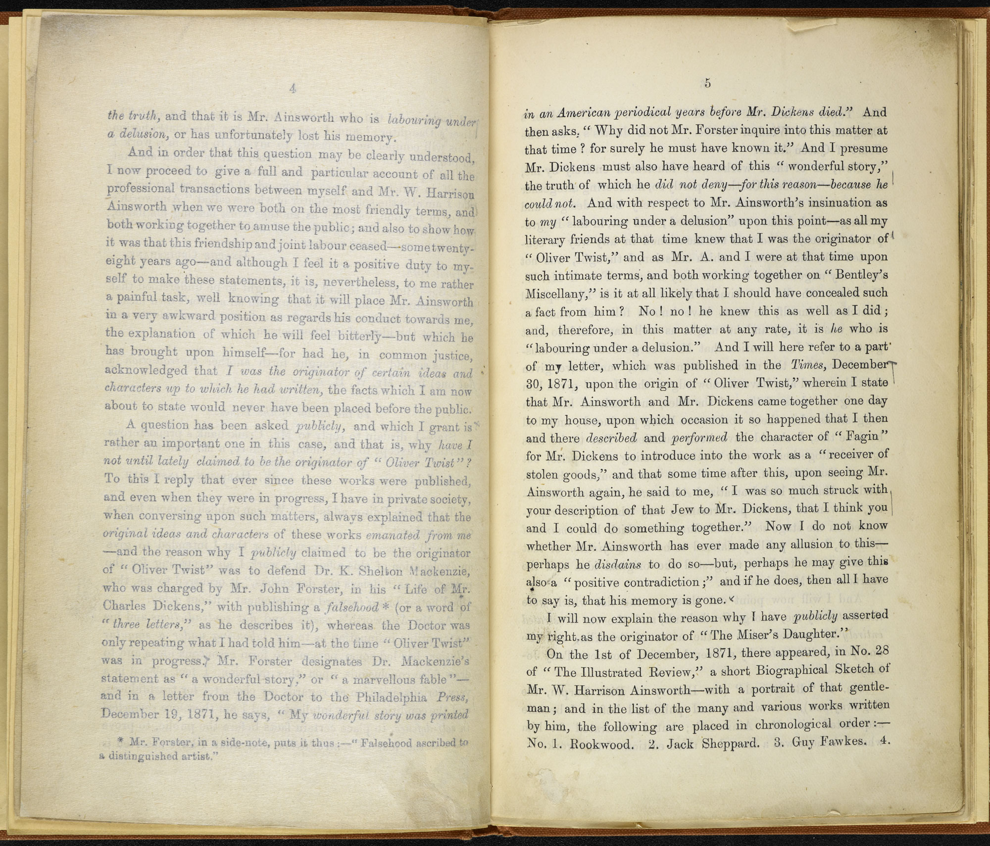 George Cruikshank's claims of plagiarism against Charles Dickens [page: 4-5]