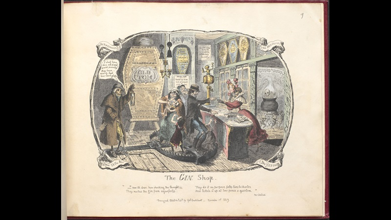 The Gin Shop' from George Cruikshank's Scraps and Sketches [page: no. 9]
