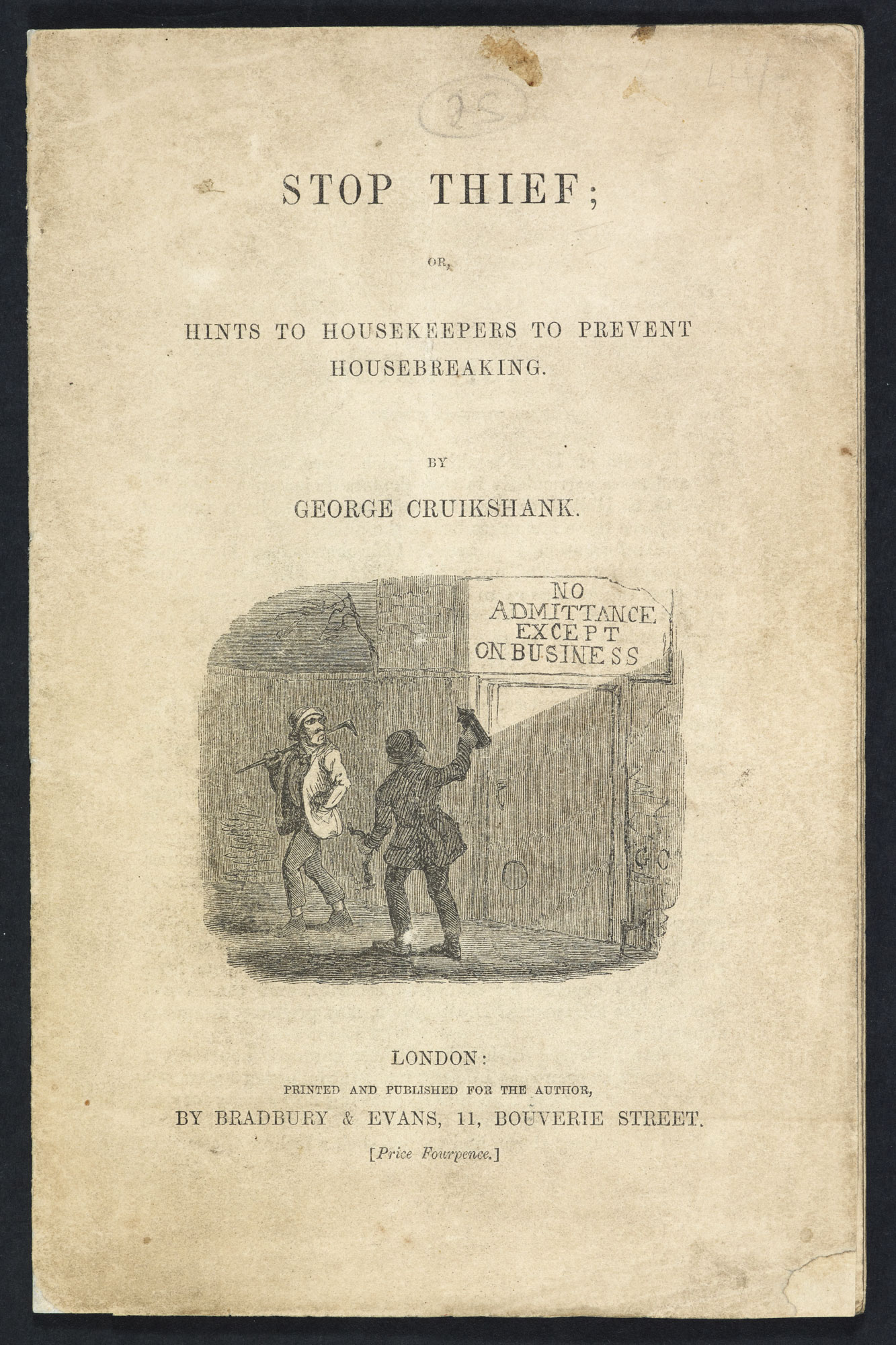 A pamphlet on housebreaking by George Cruikshank [page: front cover]