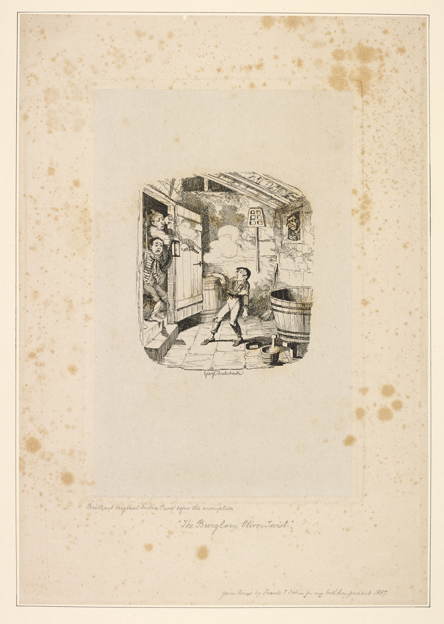 Proof engraving for Oliver Twist, 'The Burglary', by George Cruikshank [page: 105]