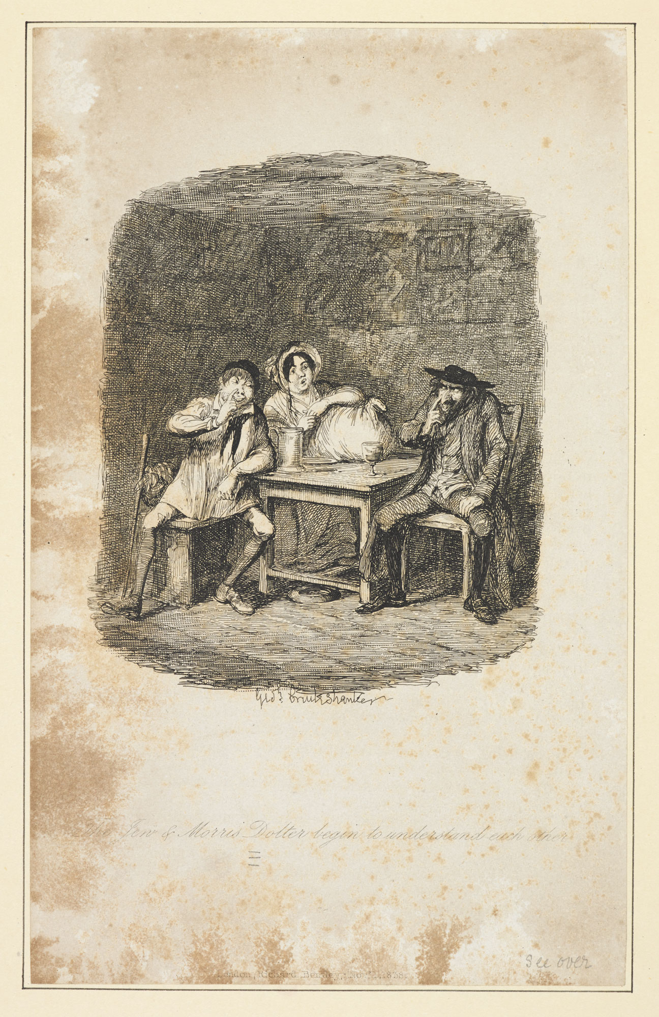 Proof engraving of 'The Jew and Morris Dolter [sic] begin to understand each other' by George Cruikshank for Oliver Twist [page: 106]