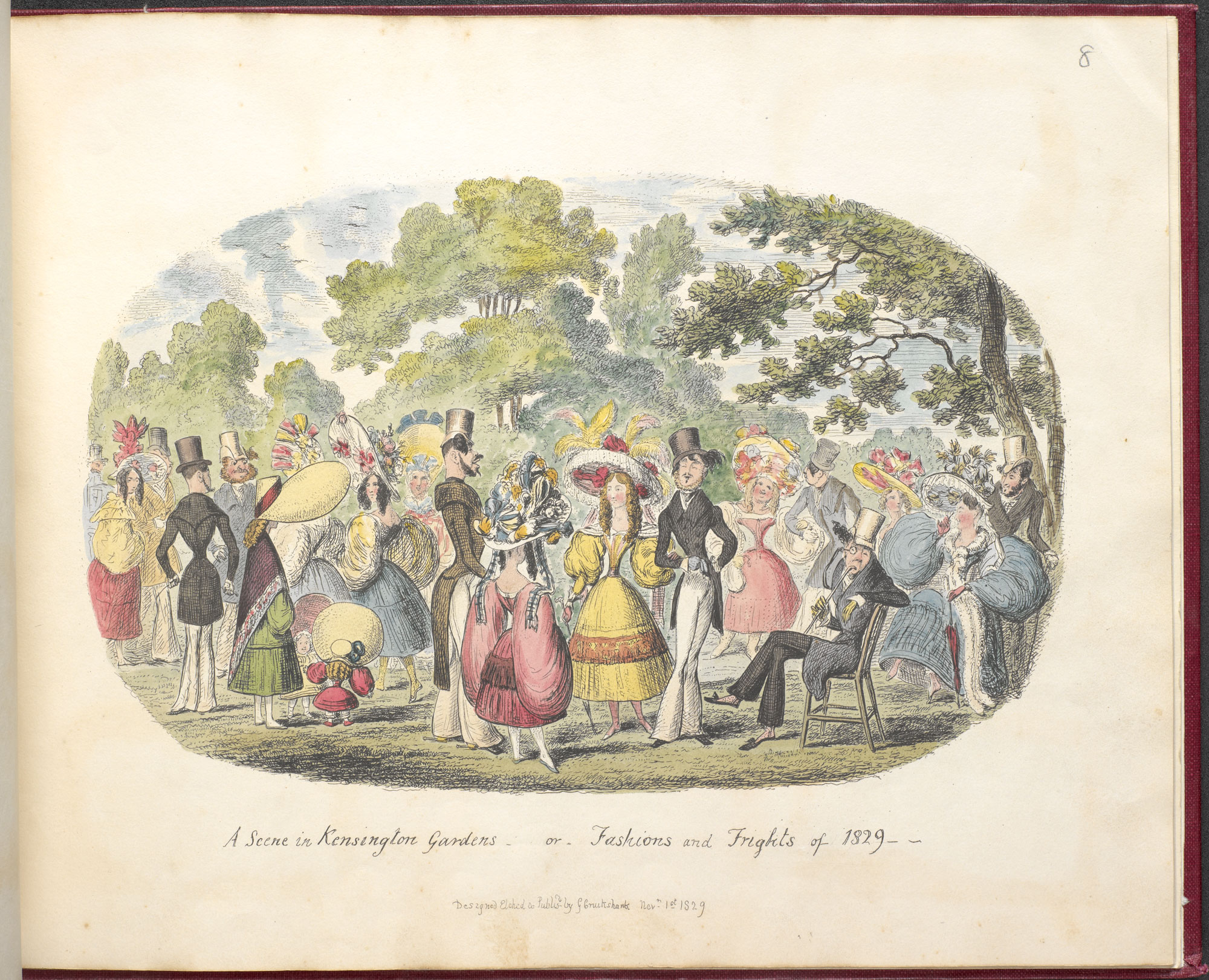 A Scene in Kensington Gardens - or, Fashion and Frights of 1829' from George Cruikshank's Scraps and Sketches [page: no. 8]