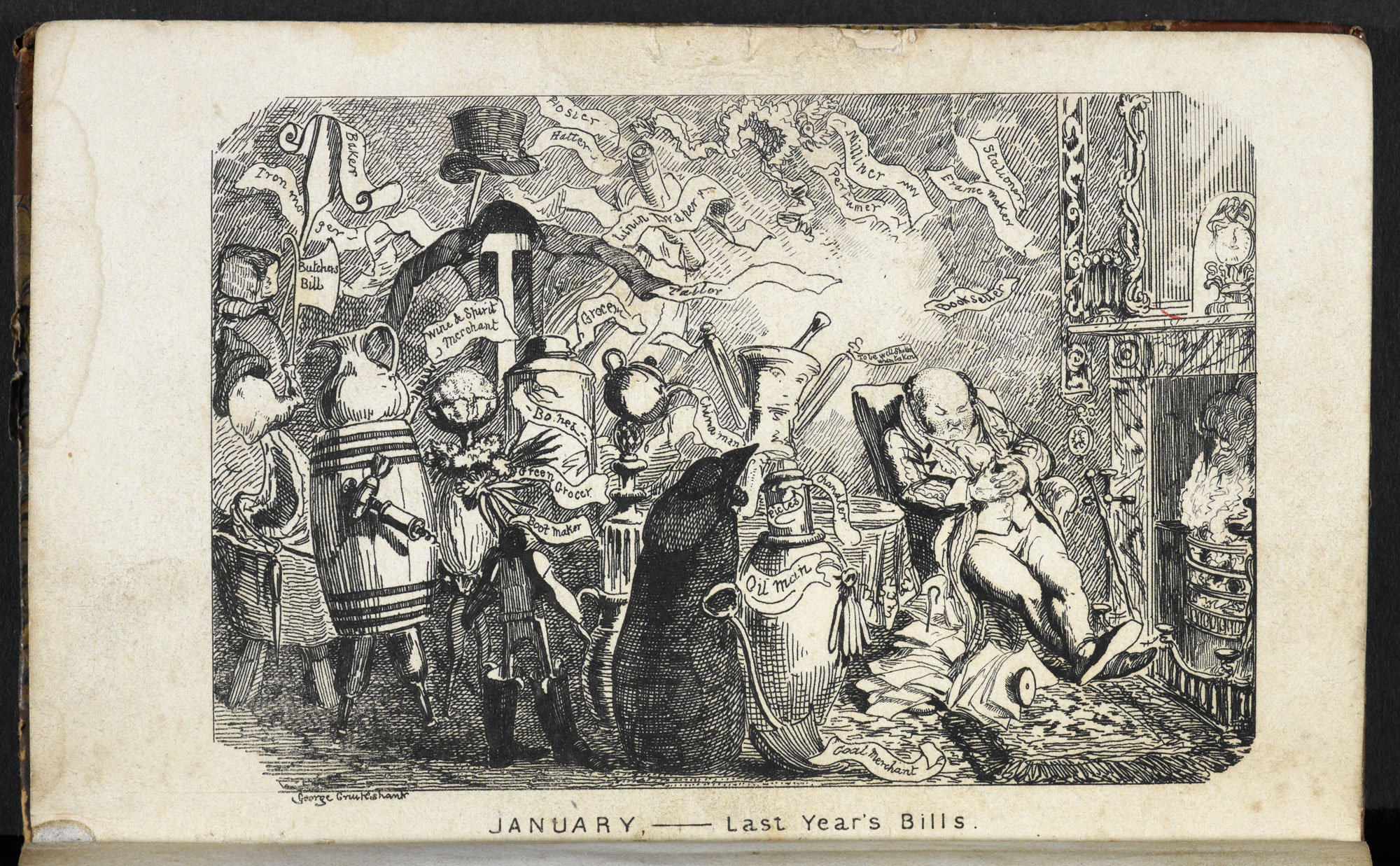 Sketches illustrating the months by George Cruikshank [page: ['January - Last Year's Bills']]