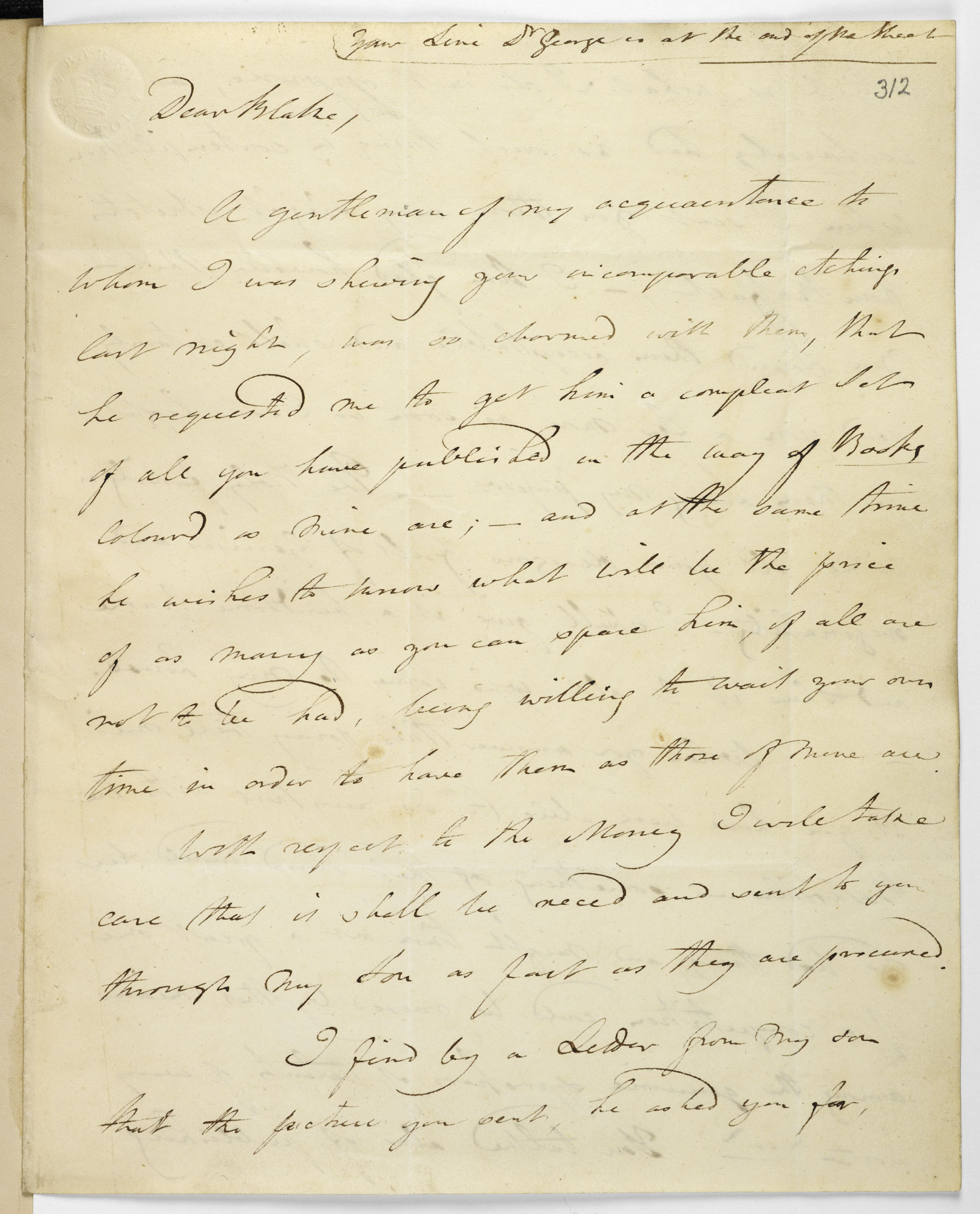 Letter from George Cumberland to William Blake, 18 December 1808 [folio: 312r]