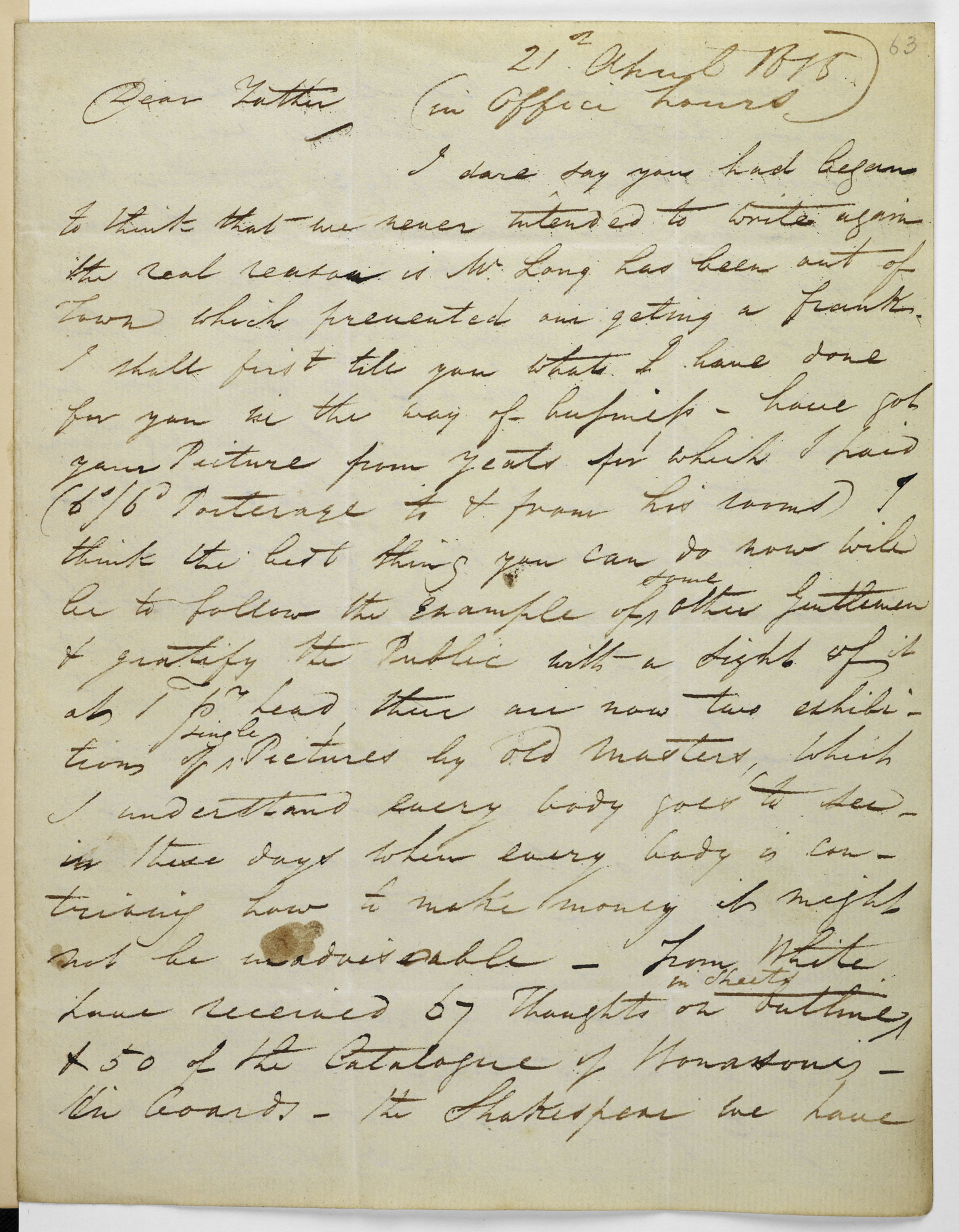 Letter from George Cumberland junior to his father, 21 April 1815 [folio: 63r]