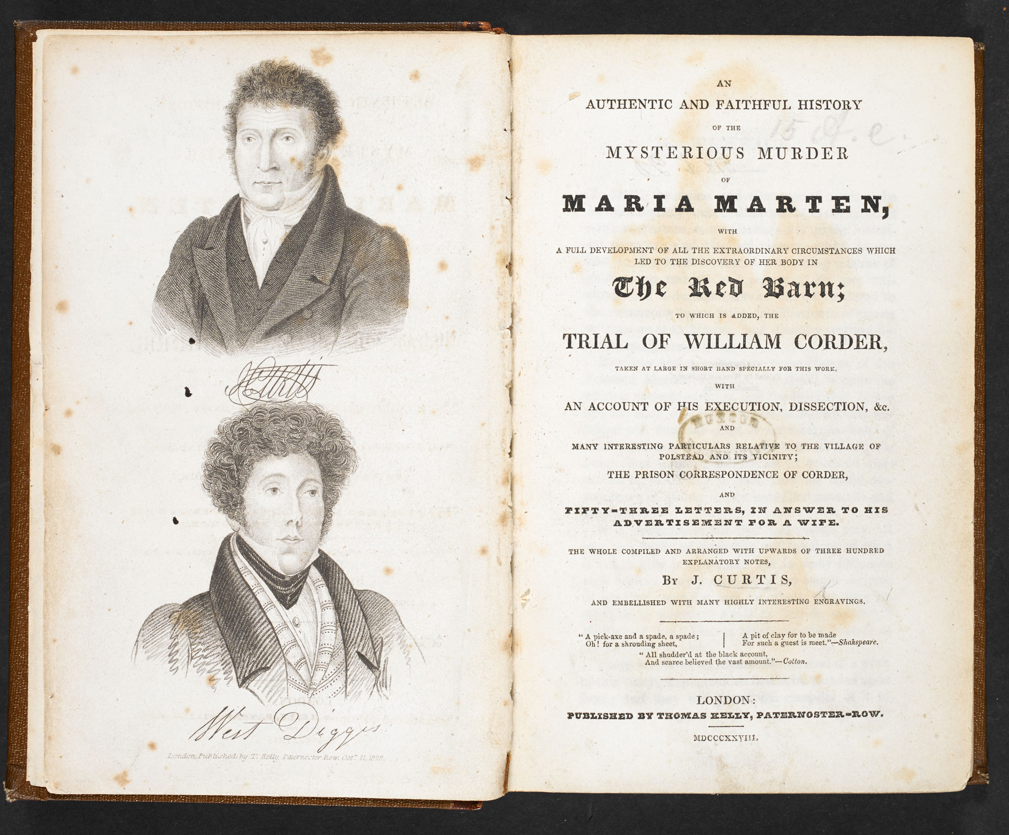 An Authentic and Faithful History of the mysterious murder of Maria Marten [page: frontispiece and title page]