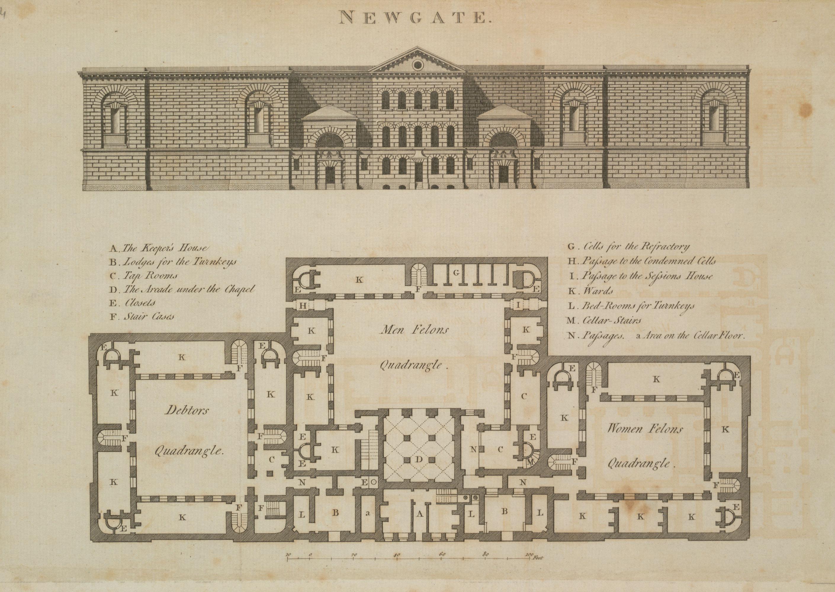 Building Plan Of Newgate Prison The British Library