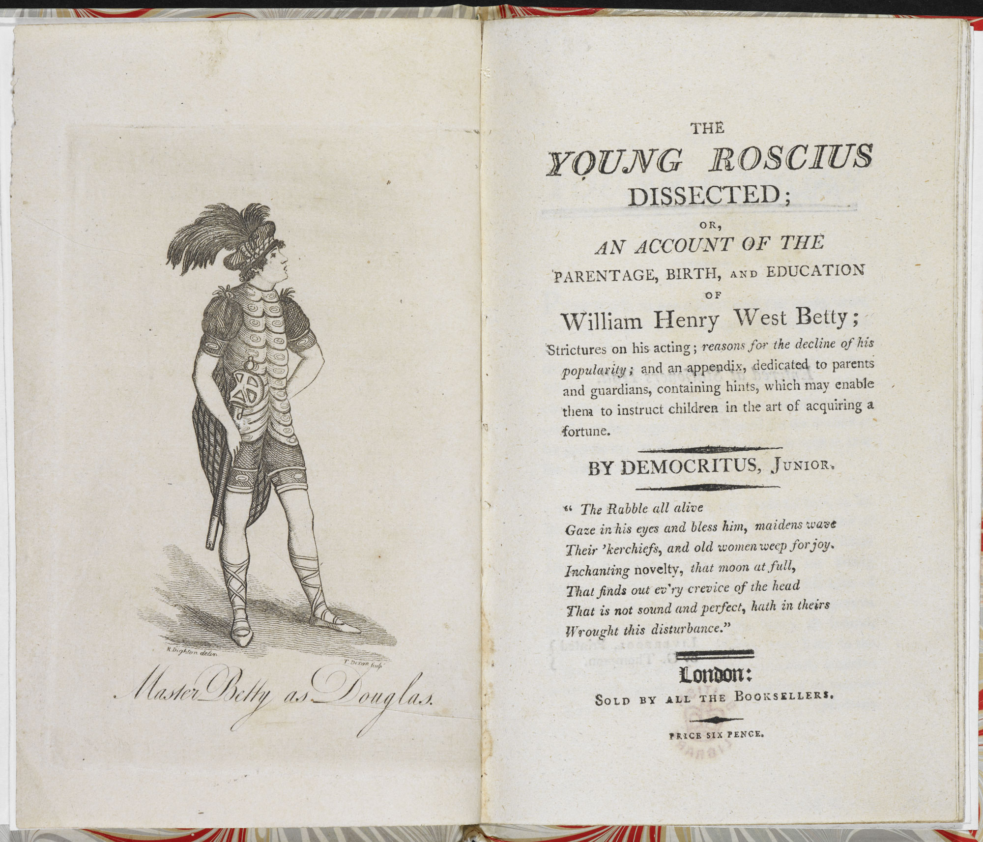 Account of a child actor: The Young Roscius Dissected [page: frontispiece and title page]