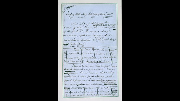 Manuscript of the Preface to the 1850 edition of Charles Dickens's Oliver Twist [folio: 7r]