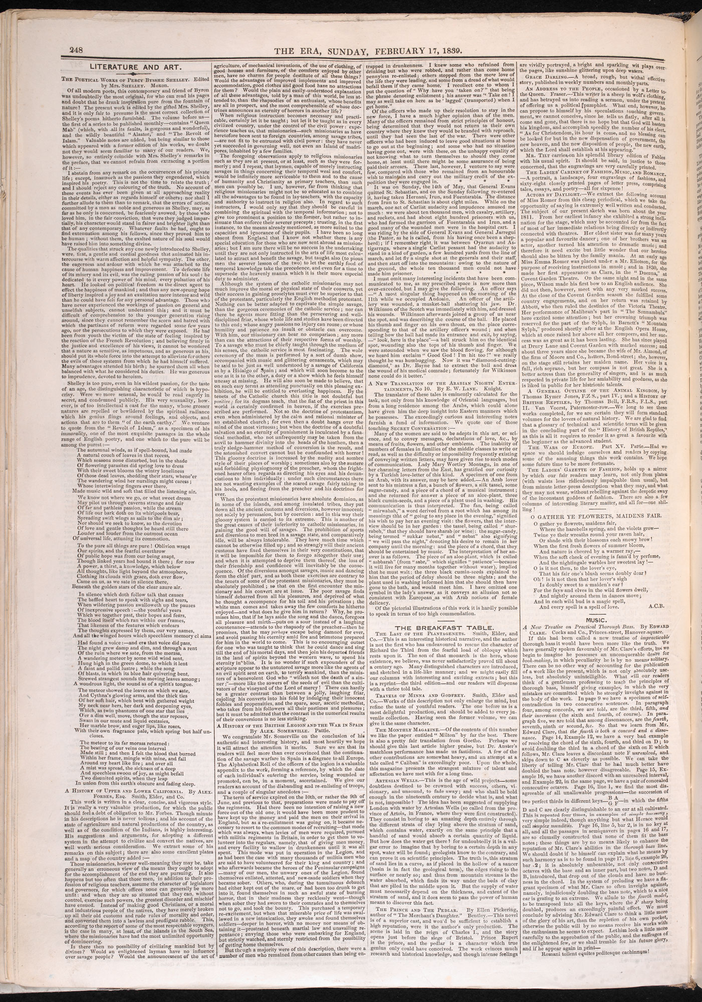 Review of the publication of P B Shelley's works [page: 248]