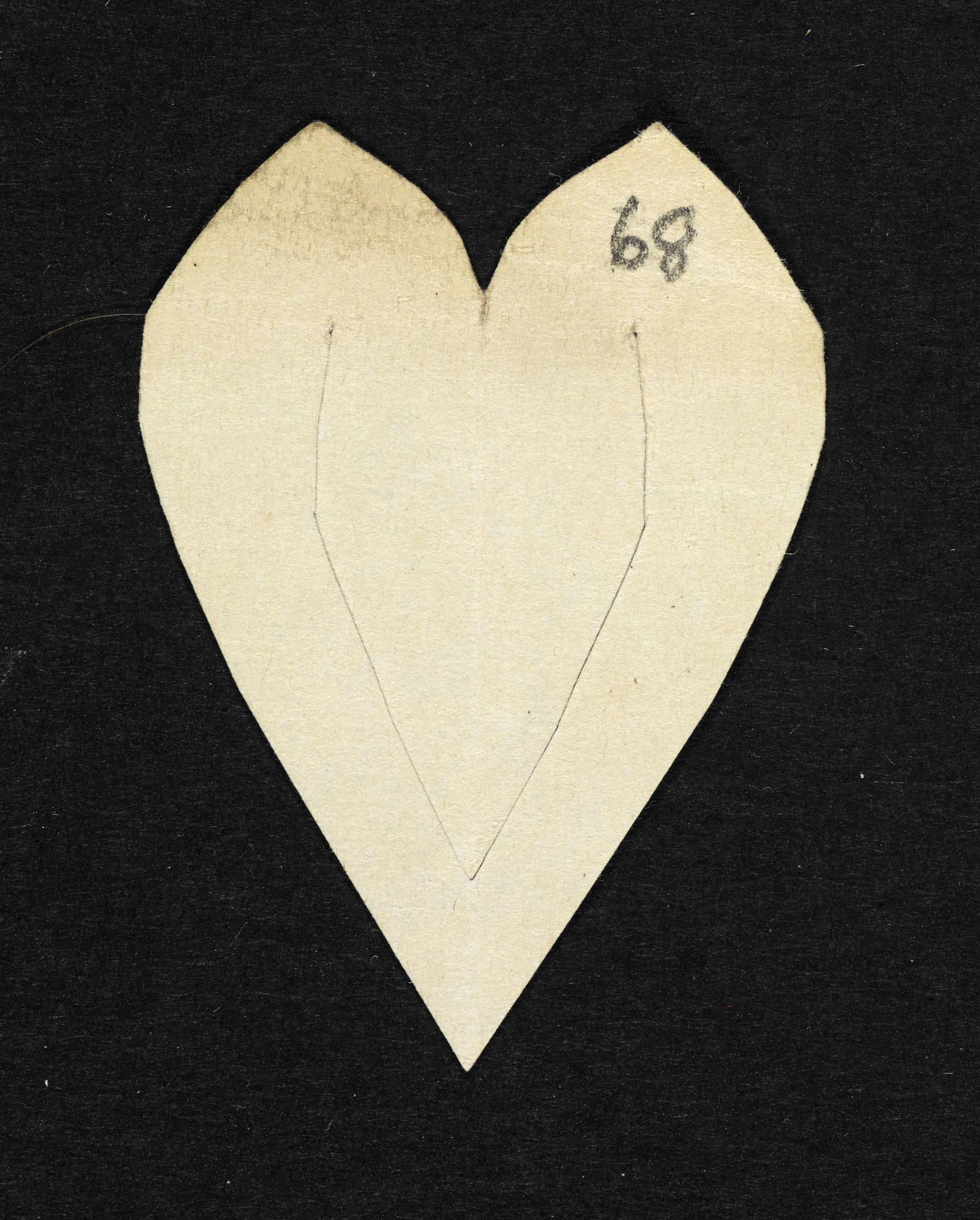 A paper heart and memorial transcript from the Arthur Henry Hallam papers [folio: 68r]