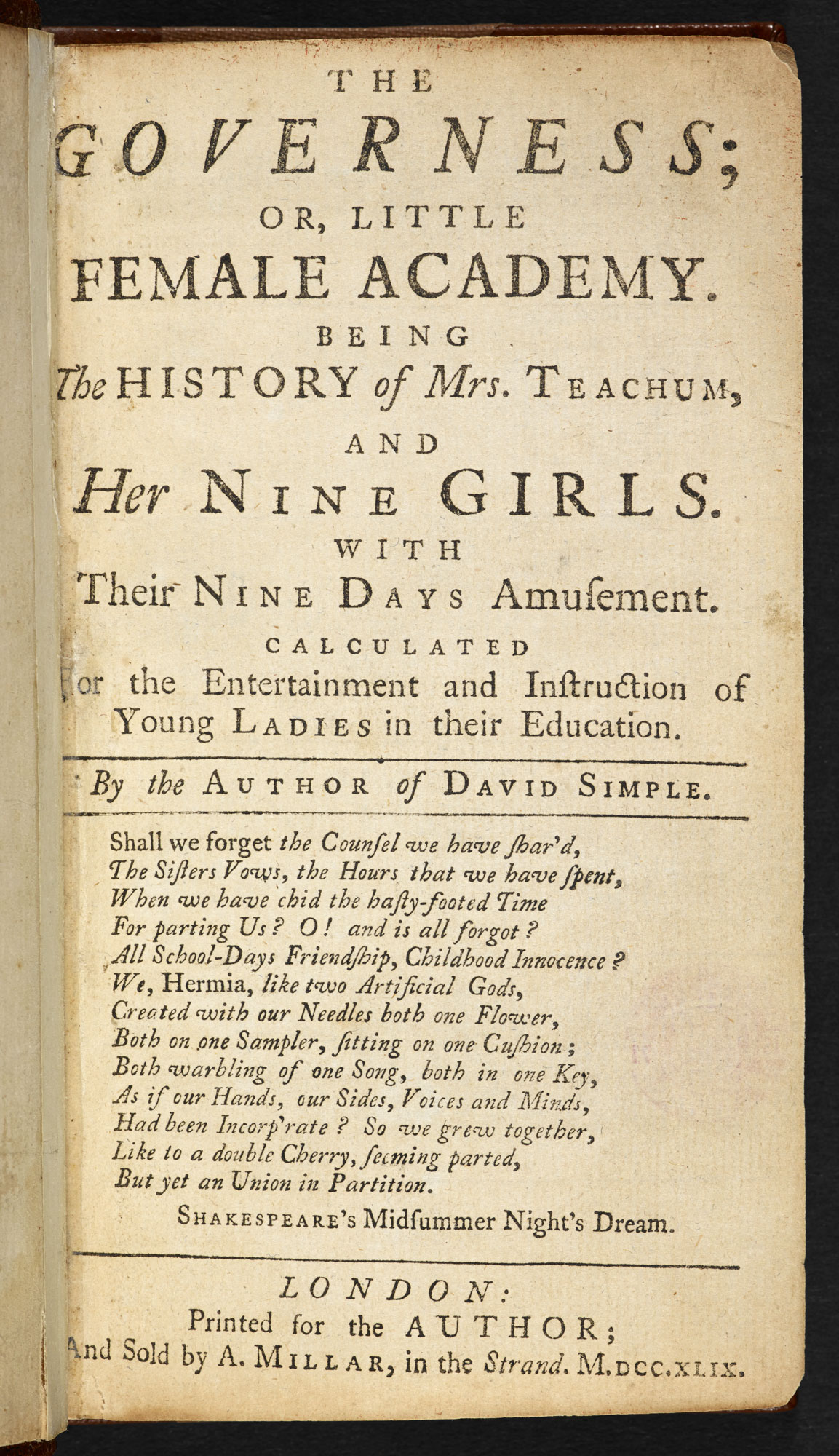The Governess; or Little Female Academy [page: title page]
