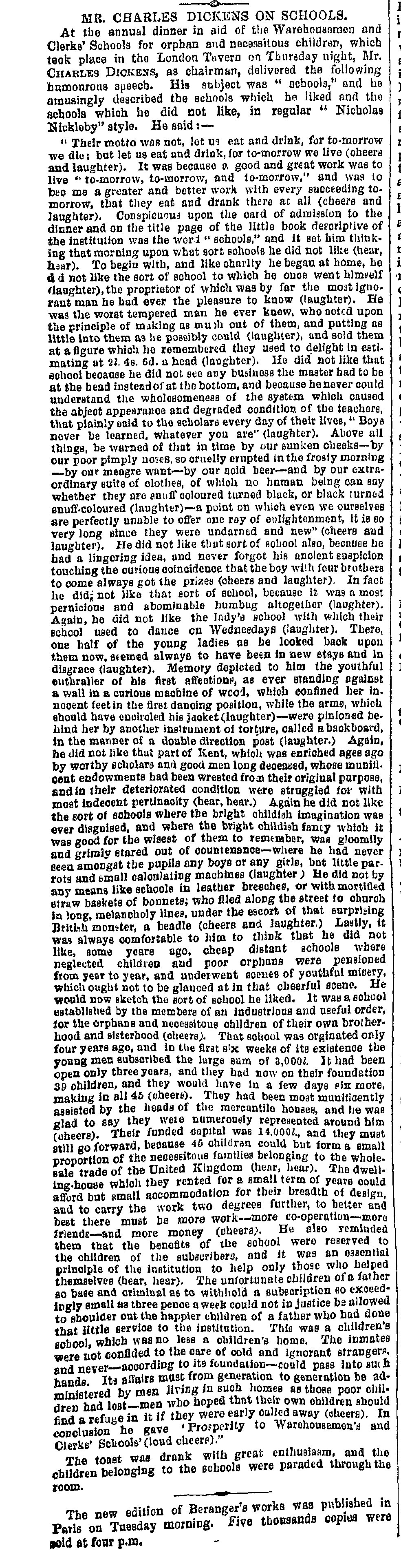Mr Charles Dickens on Schools' from the Freeman's Journal and Daily Commerical Advertiser [page: 4]