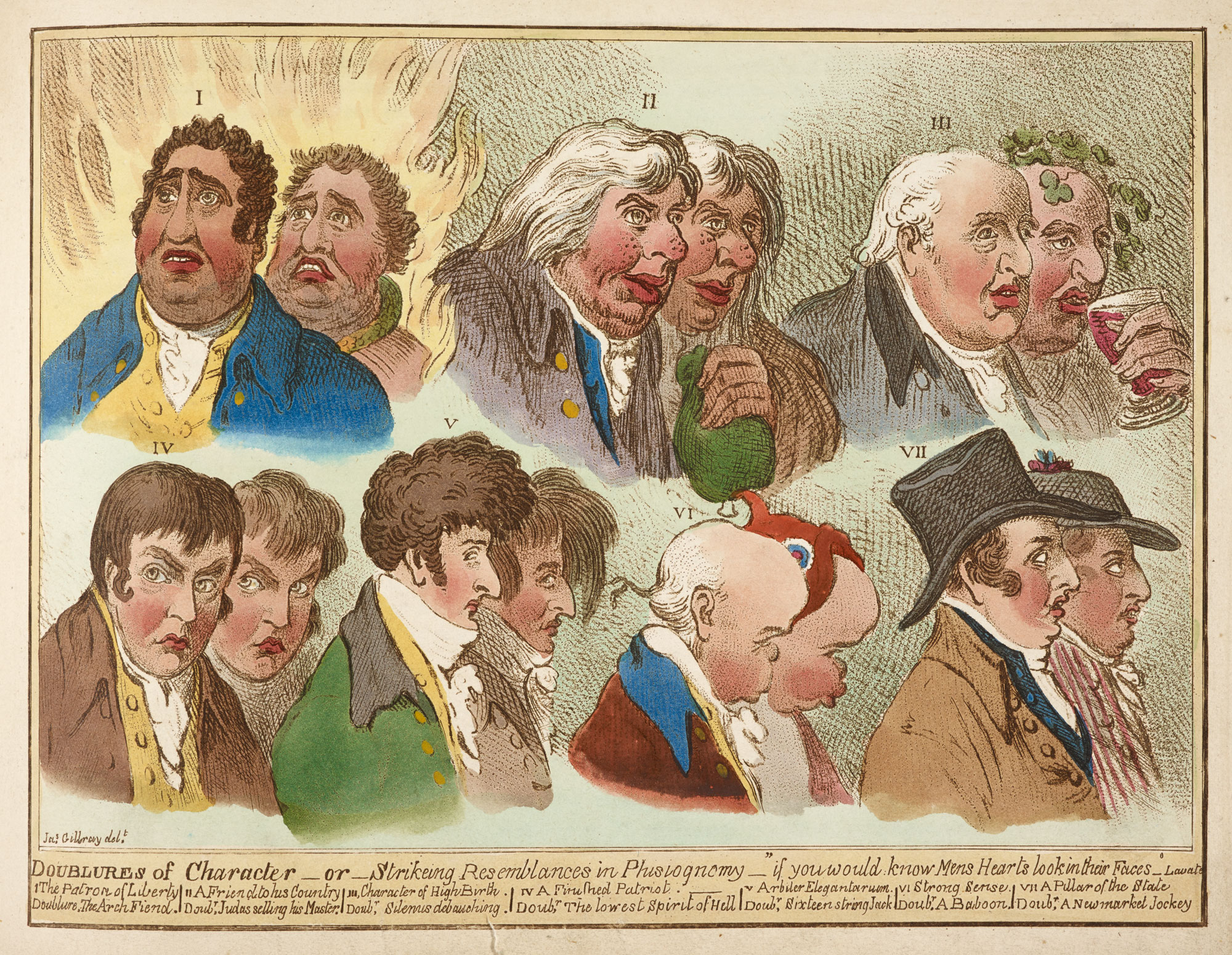 Doublures of Character - or - Strikeing Resemblances in Physiognomy' by Gillray [page: facing p. 82]