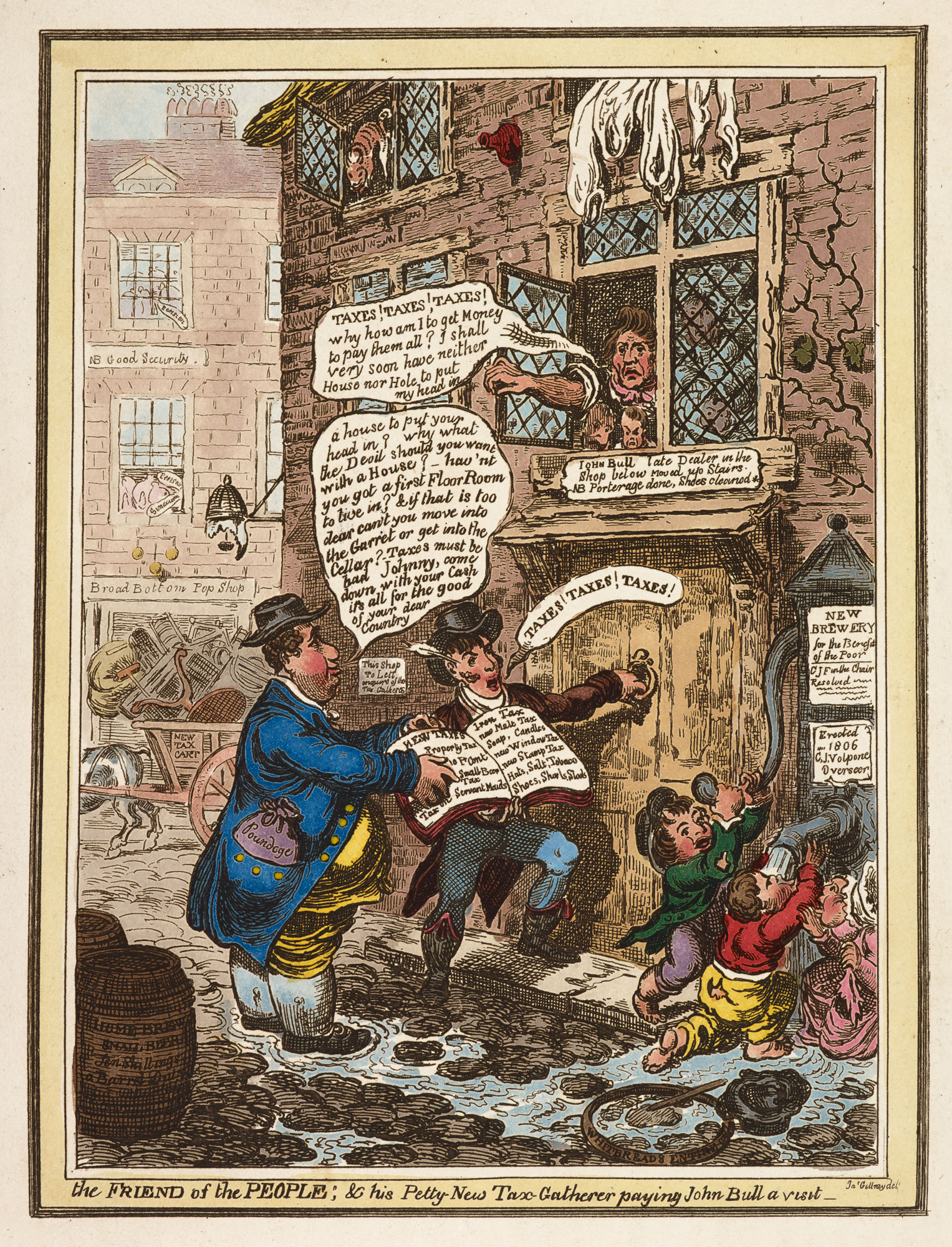 The Friend of the People; & his Petty New Tax Gatherer paying John Bull a visit' by Gillray [page: facing p. 99]