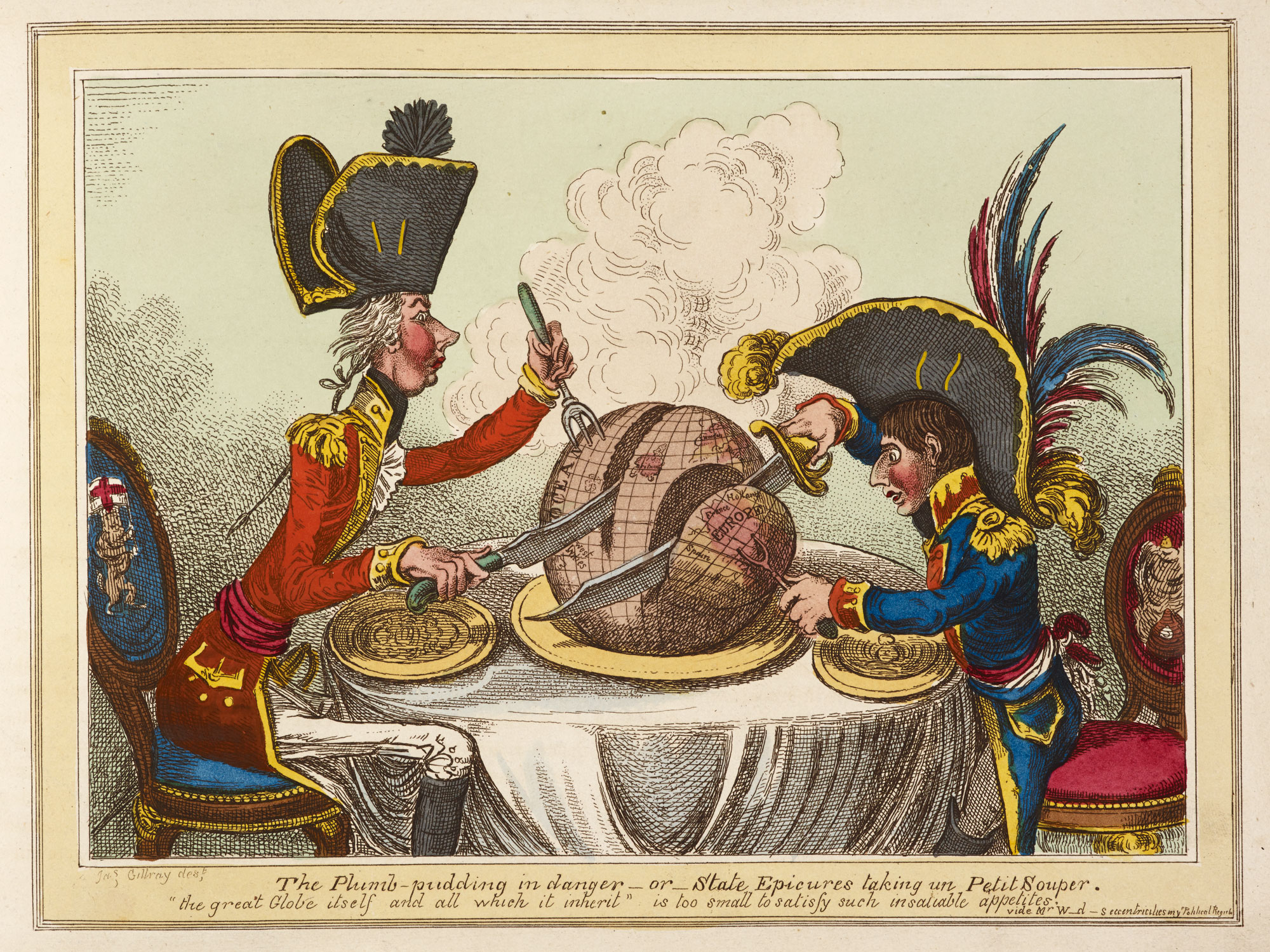 The Plumb-pudding in danger - or - State Epicures taking un Petit Souper' by Gillray [page: facing p. 56]