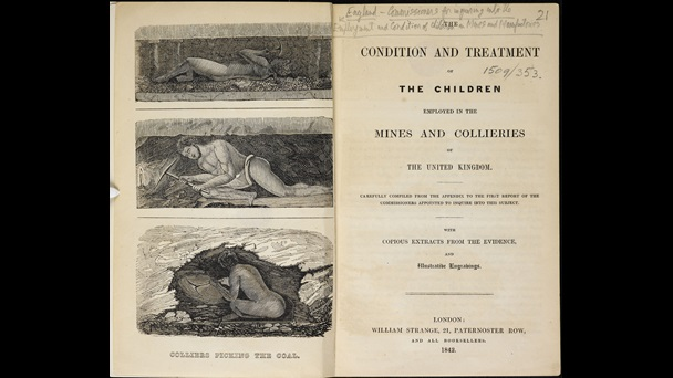 Title page and facing illustration depicting children working in cramped conditions in mines, from a report on child labour, 1842