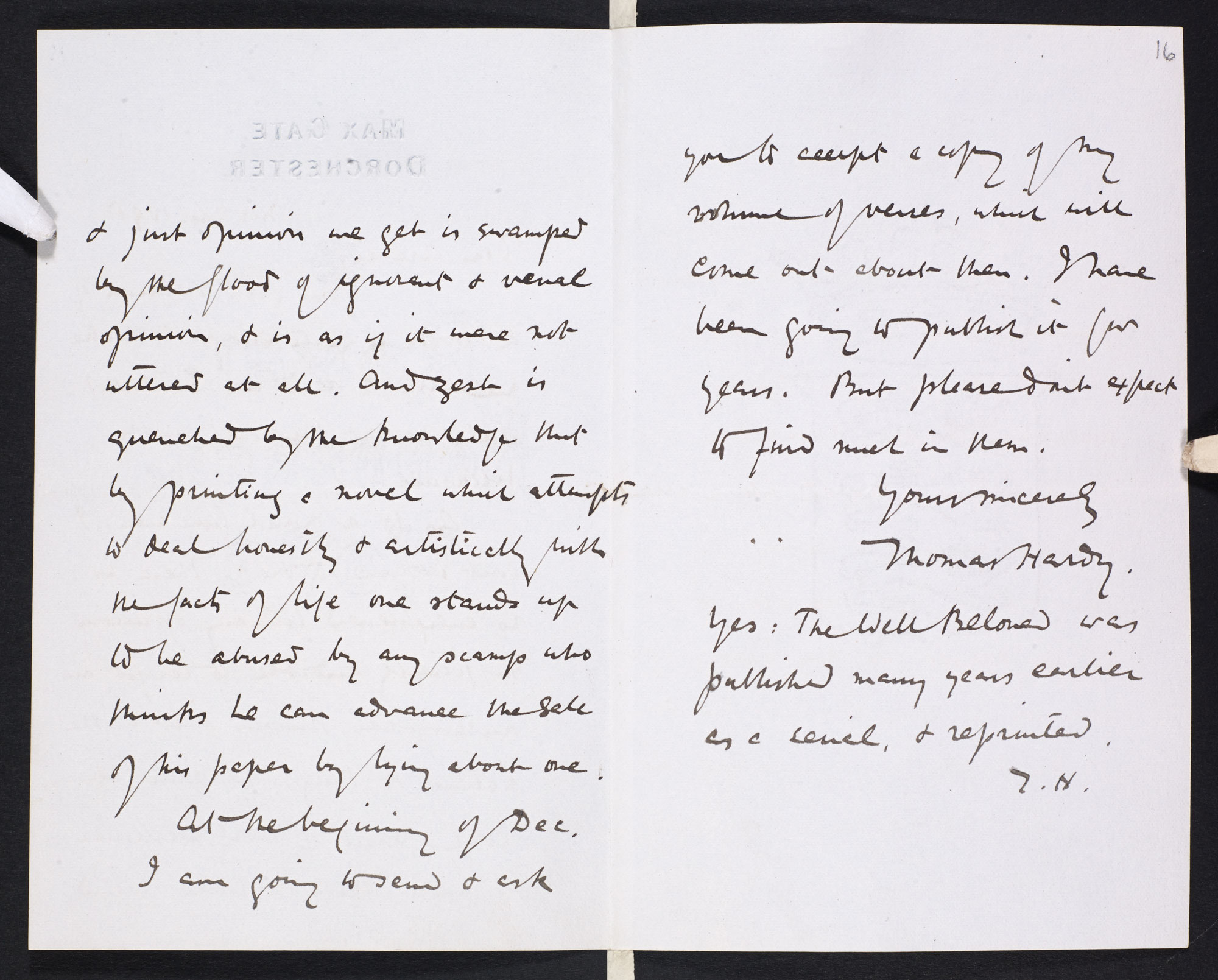 Letter from Thomas Hardy to William Archer [folio: ff. 15v-16r]