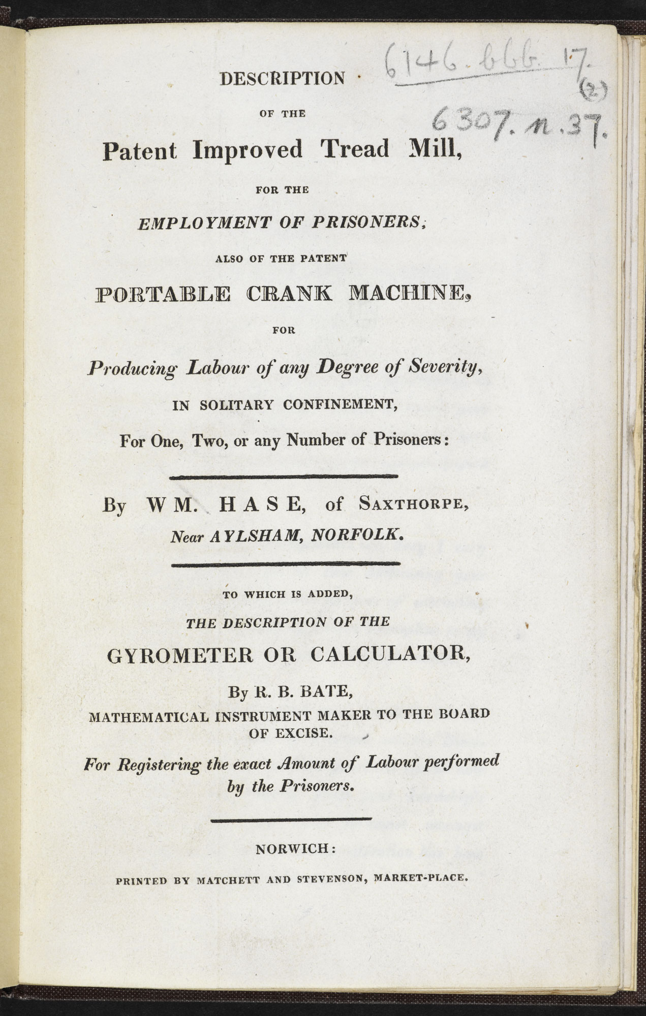 Description of the Tread Mill [page: title page]