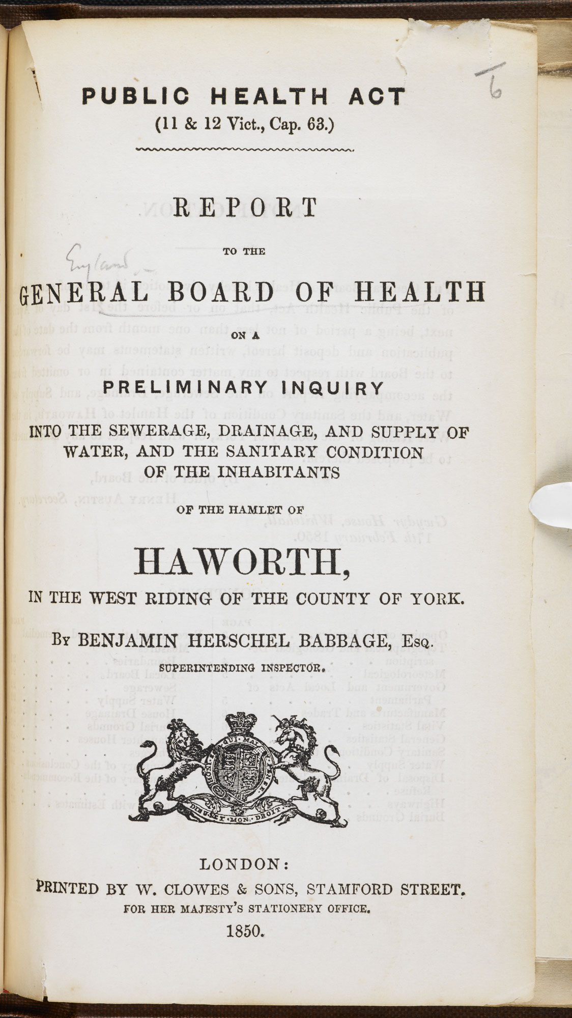 Sanitary report on Haworth, home to the Brontës [page: title page]