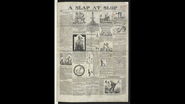 News sheet titled A Slap at Slop and the Bridge-Street Gang, with some columns dedicated to the Peterloo Massacre and several satirical political cartoons