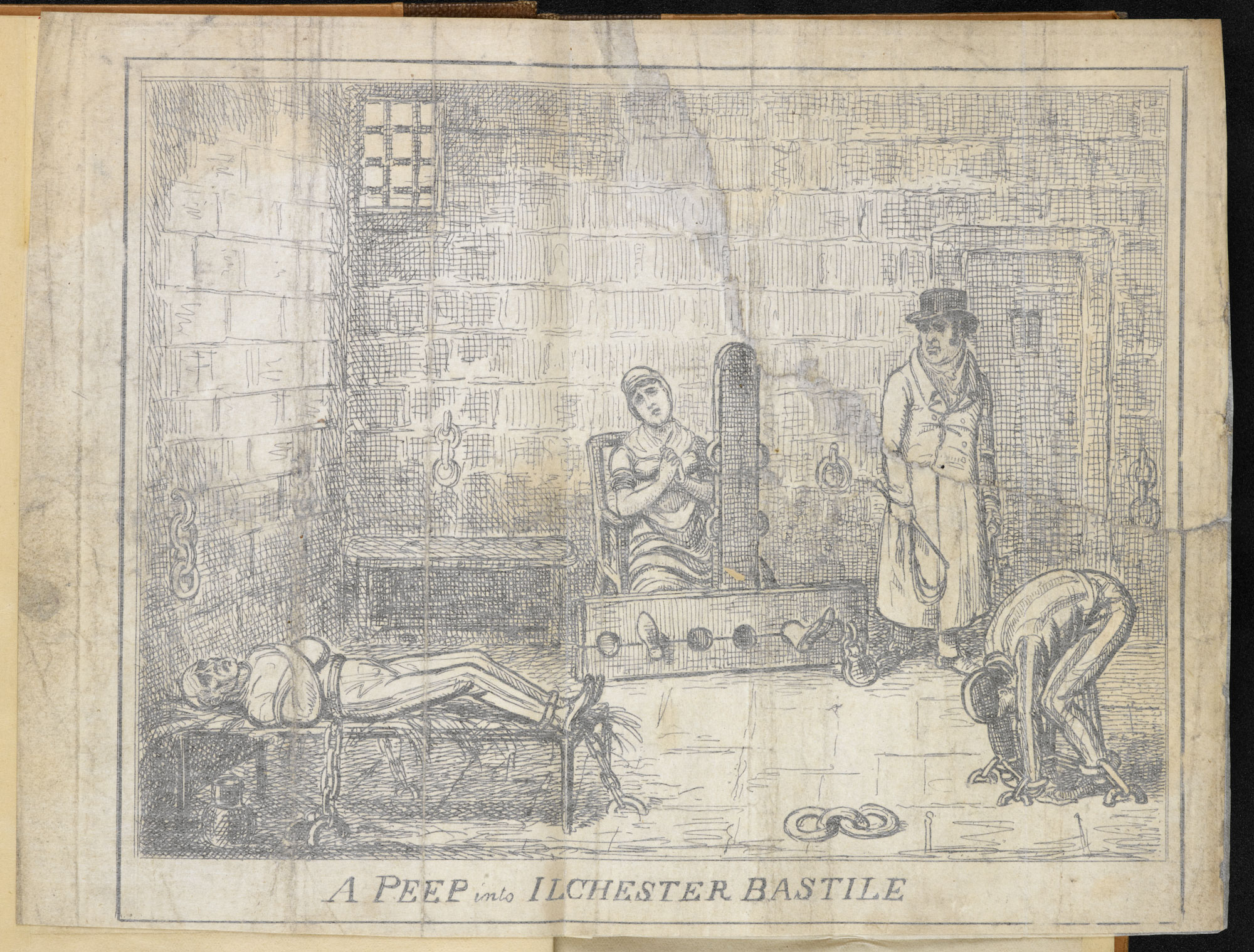 Account of poor prison conditions at Ilchester by Henry Hunt [page: fold-out frontispiece]