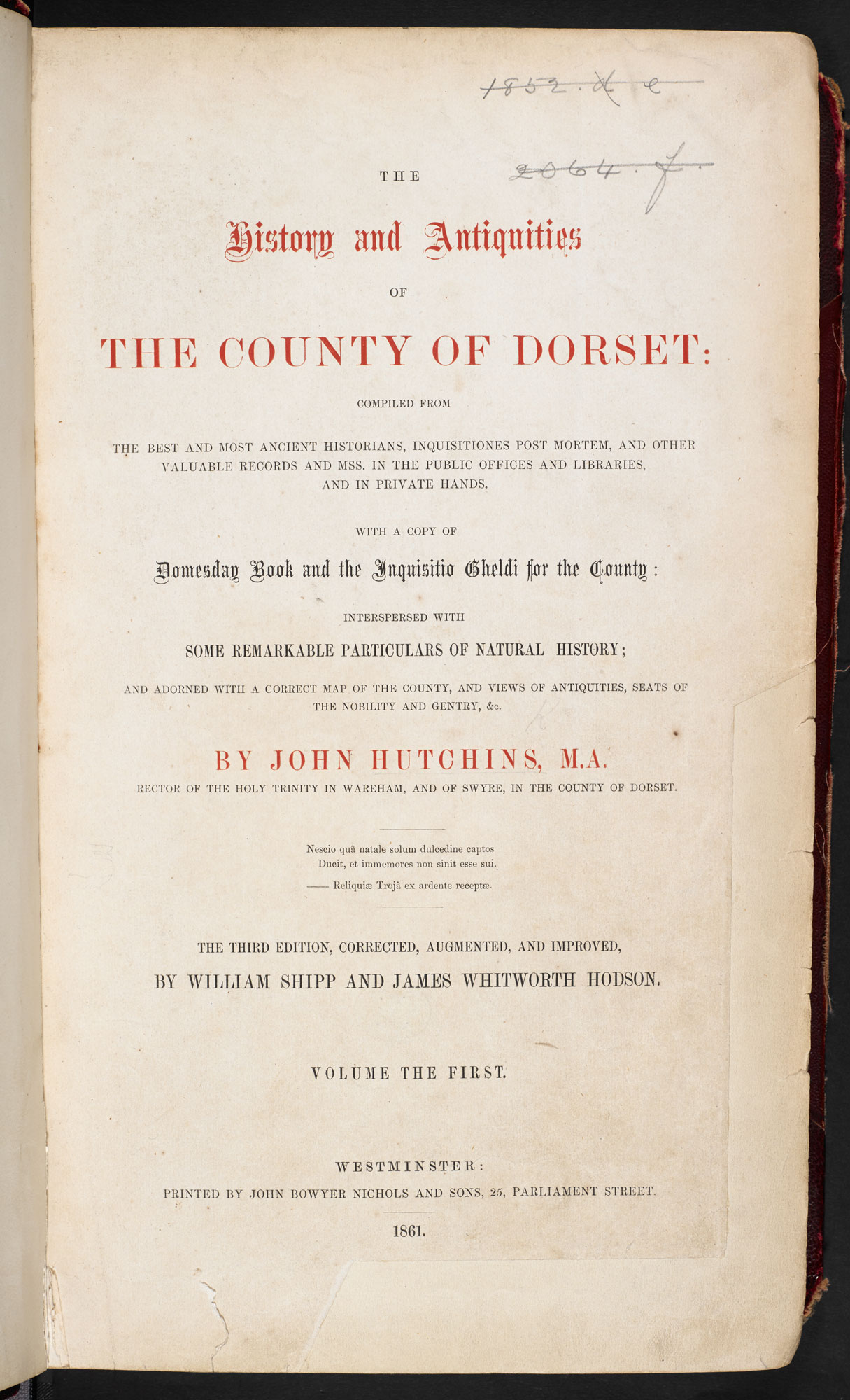 The History and Antiquities of the County of Dorset [page: vol. 1 title page]