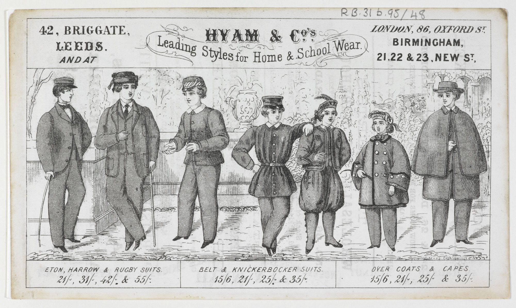 Advertisement for clothing outfitters Hyam & Co. [page: front]
