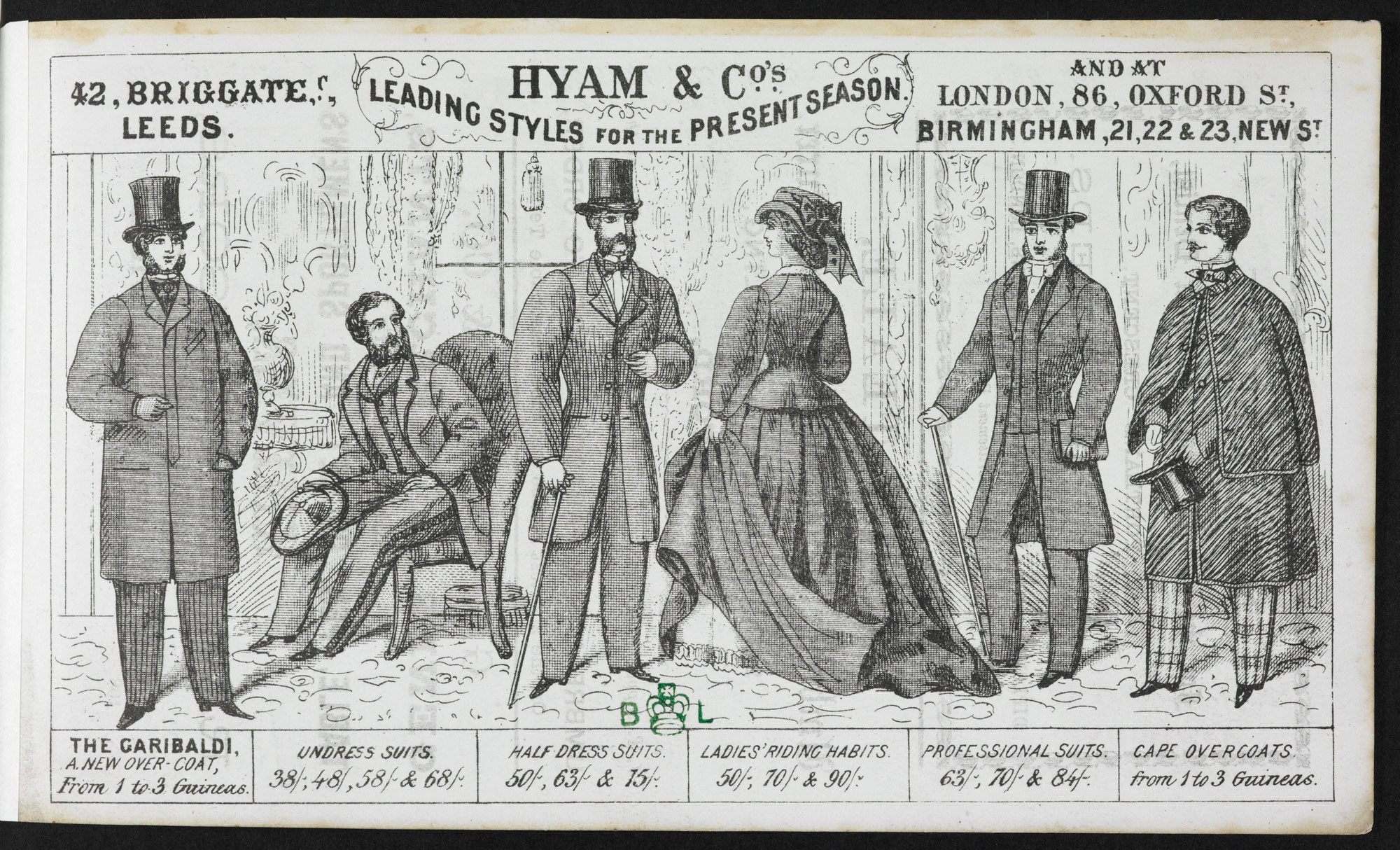 Advertisement for clothing outfitters Hyam & Co. [page: back]