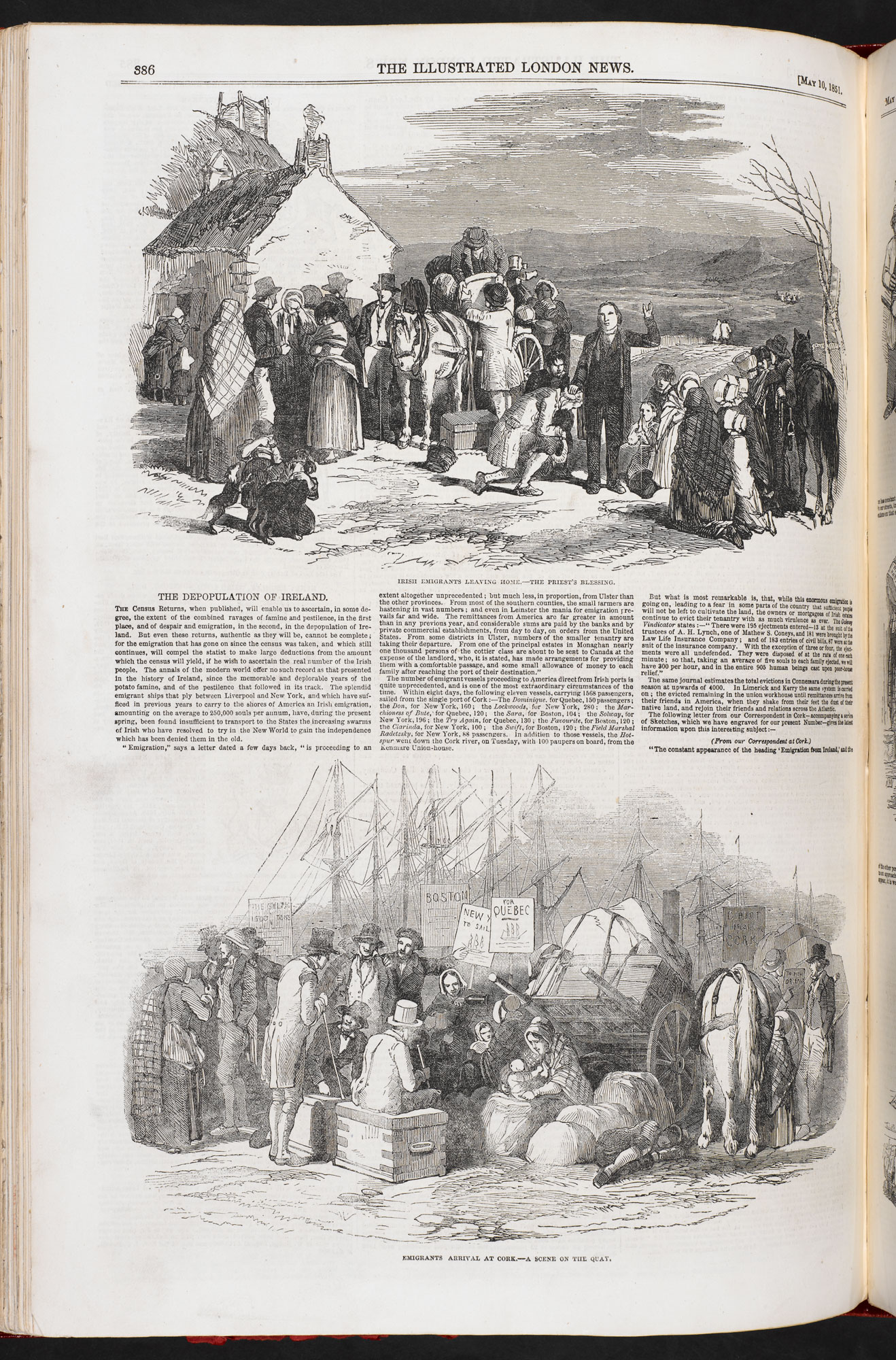 The Depopulation of Ireland' from Illustrated London News [page: 386]