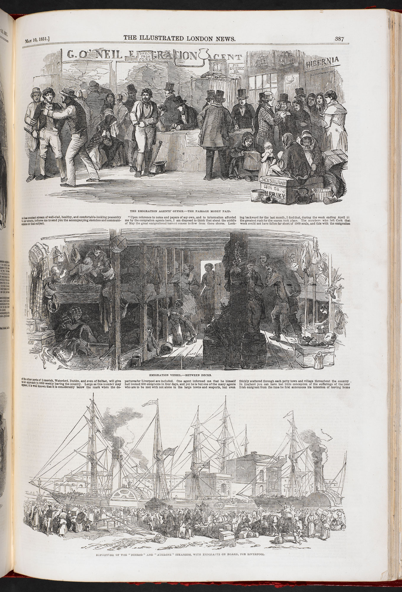 The Depopulation of Ireland' from Illustrated London News [page: 387]