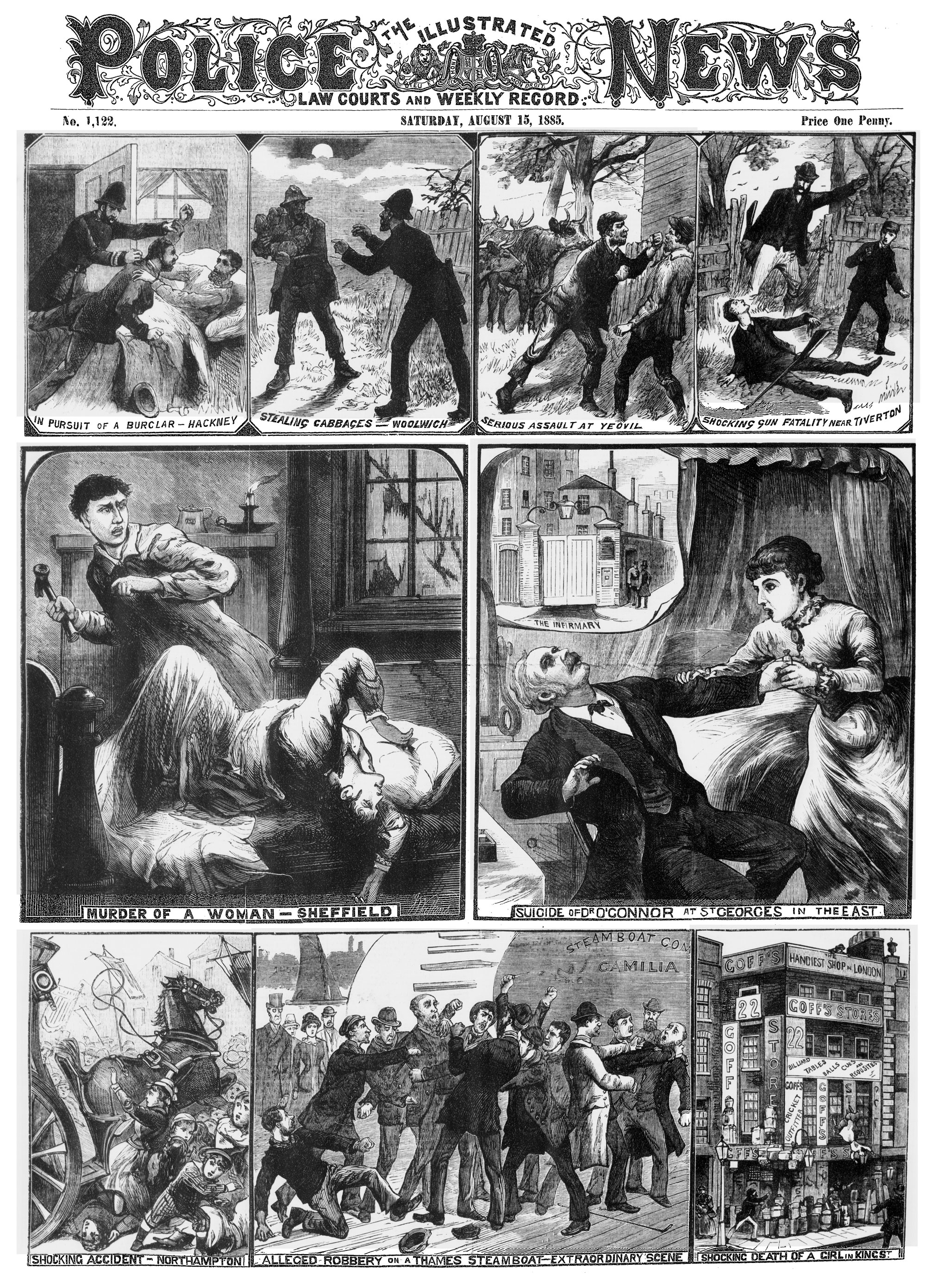 Front page of the Illustrated Police News, 15 August 1885 [page: front cover]