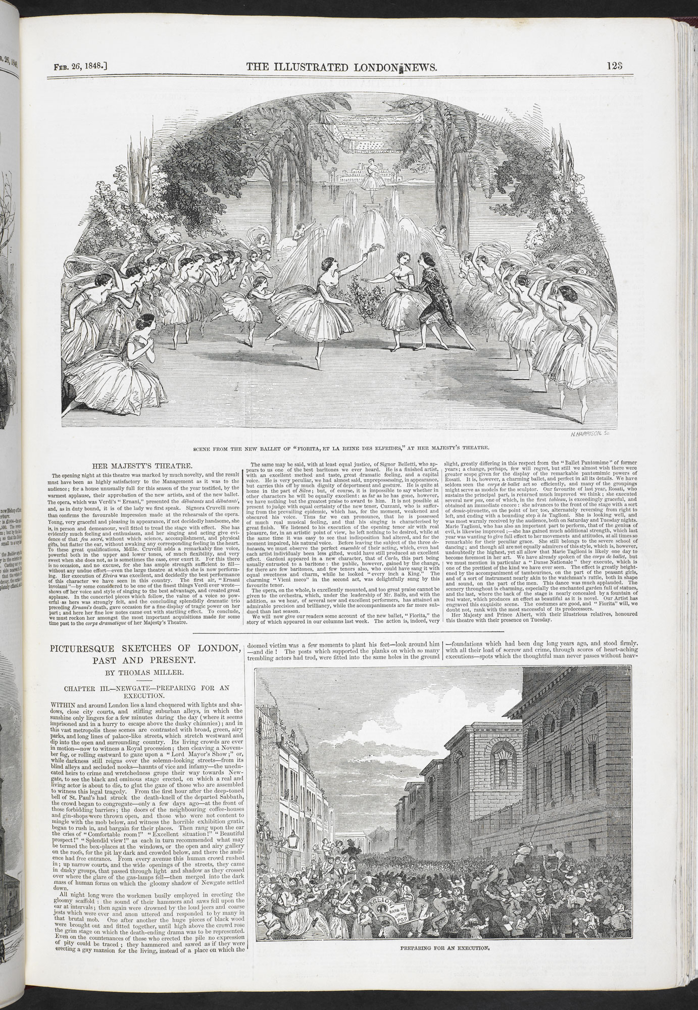 Newspaper report on Newgate executions from the Illustrated London News [page: 123]