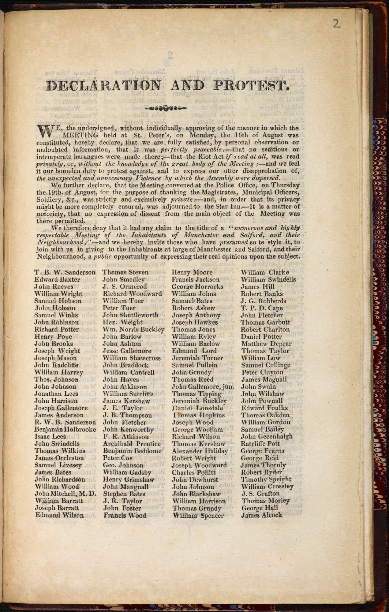 Petition declaring support for the victims of the Peterloo Massacre and the protestors [page: [1]]