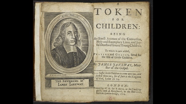 A Token for Children [page: frontispiece and title page]. Frontispiece show a portrait of James Janeway.