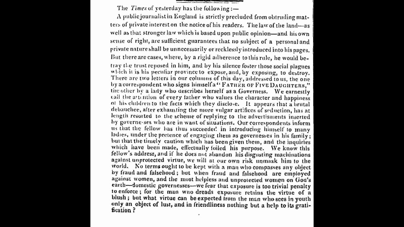 Newspaper article about the exploitation of governesses from John Bull [page: 12]