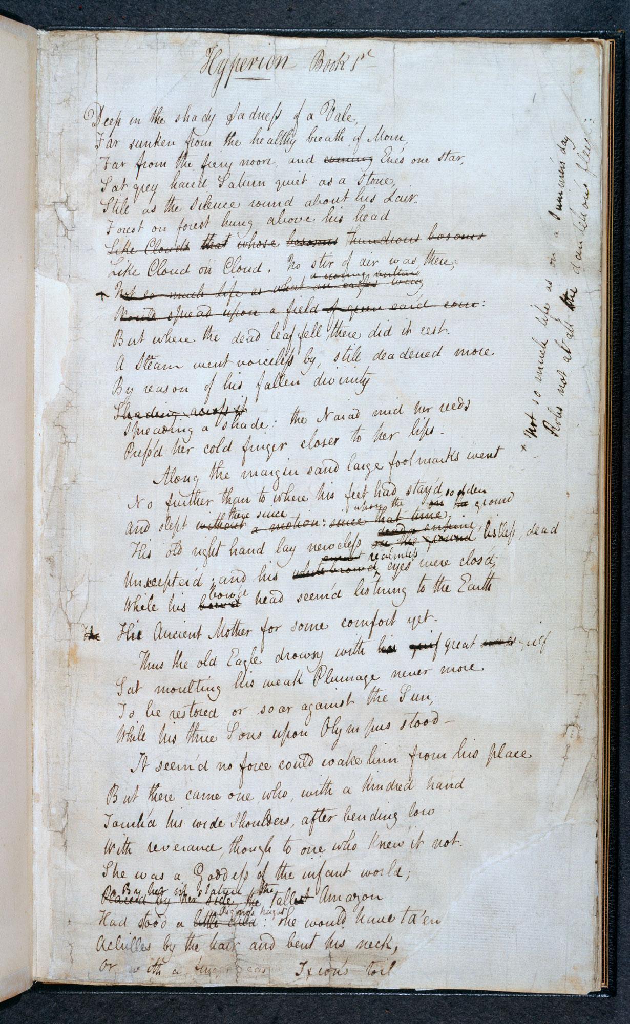 Manuscript of John Keats's 'Hyperion' [folio: 1r]