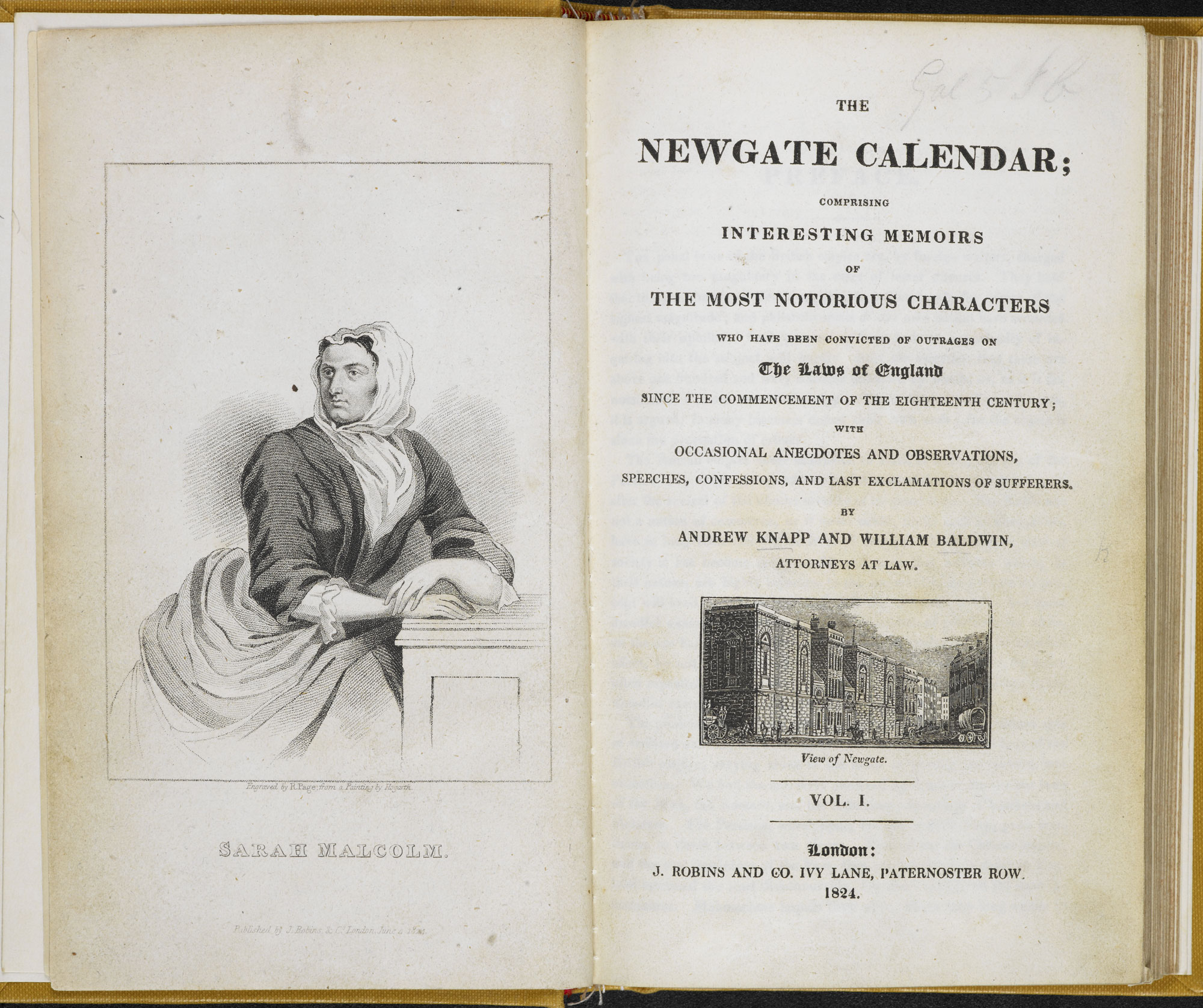 The Newgate Calender [page: frontispiece and title page]