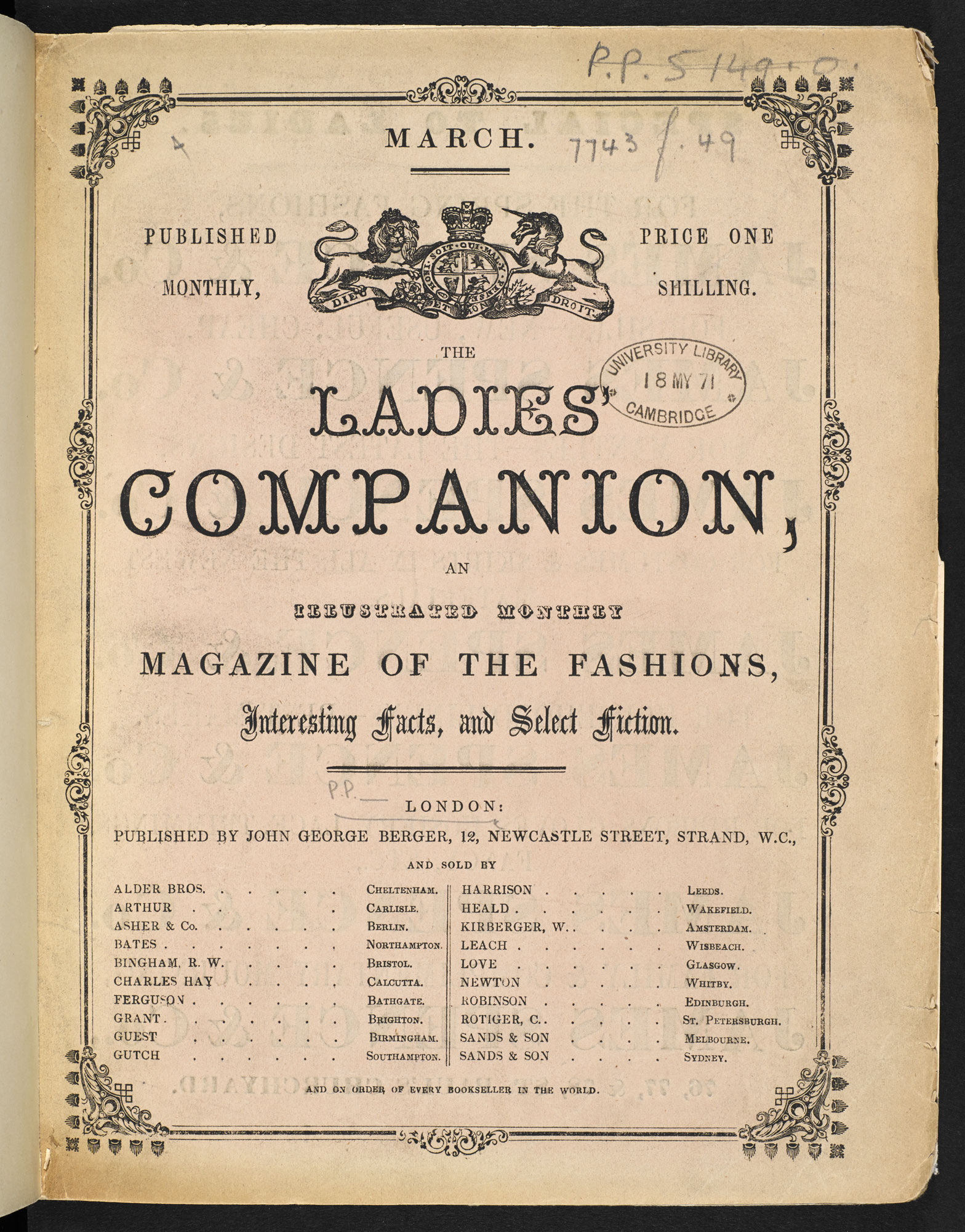 Monthly magazine, The Ladies Companion [page: title page]