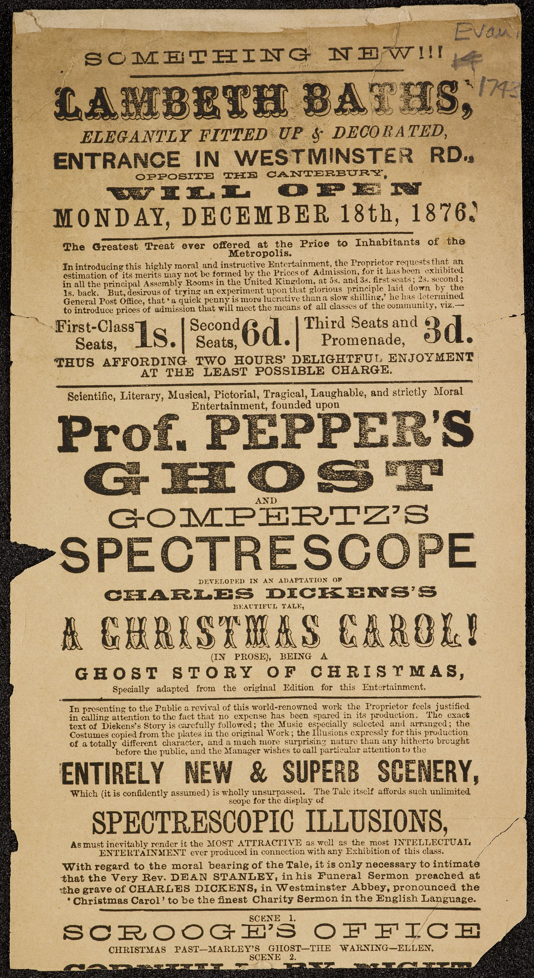 A playbill for Prof. Pepper's ghost and Gompertz's spectrescope [page: single sheet]