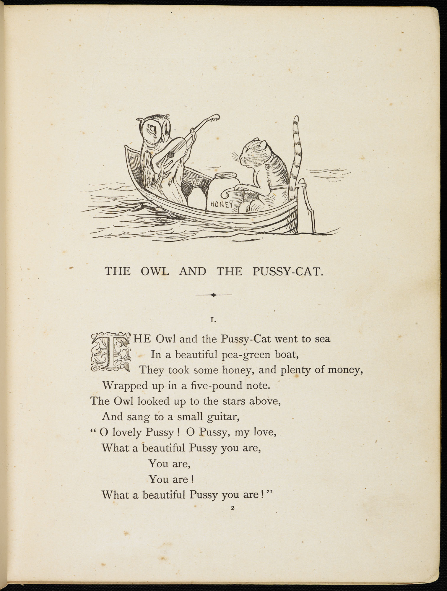 Nonsense Songs, Stories, Botany, and Alphabets by Edward Lear [page: first page of 'The Owl and the Pussycat']