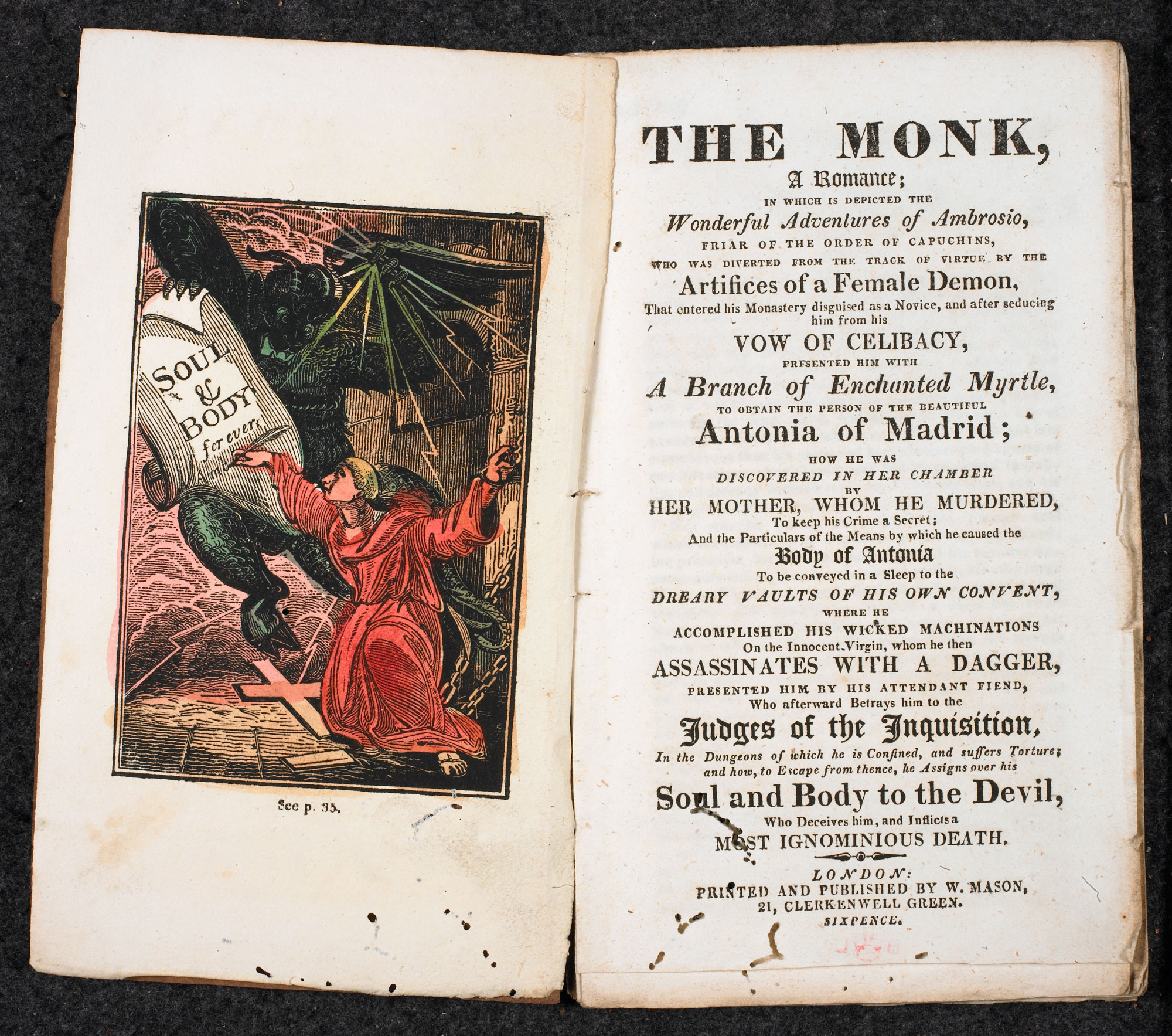 Matthew Lewis, The Monk [page: frontispiece and title page]