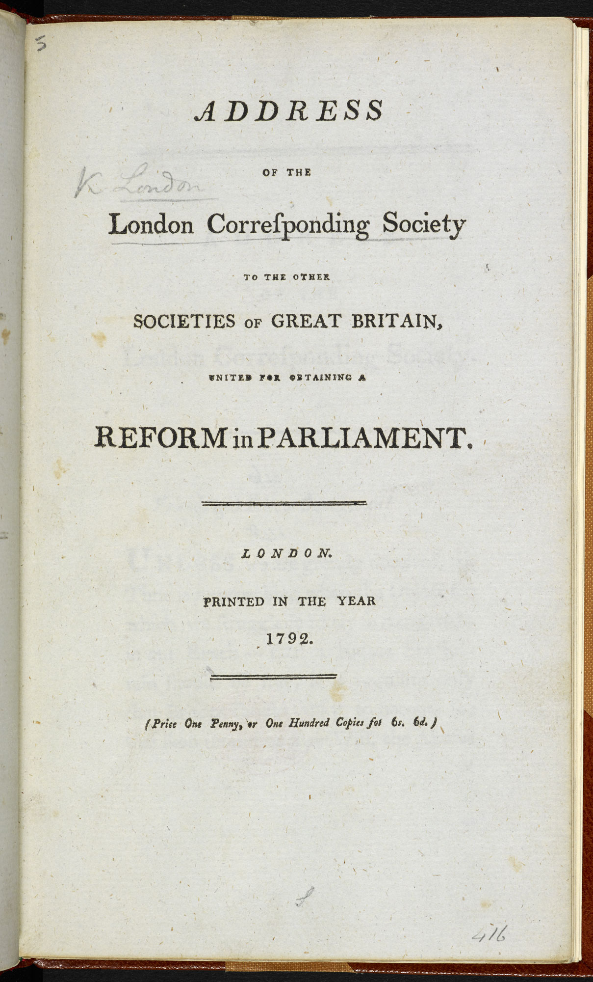 Address of the London Corresponding Society… for obtaining a Reform in Parliament [page: title page]