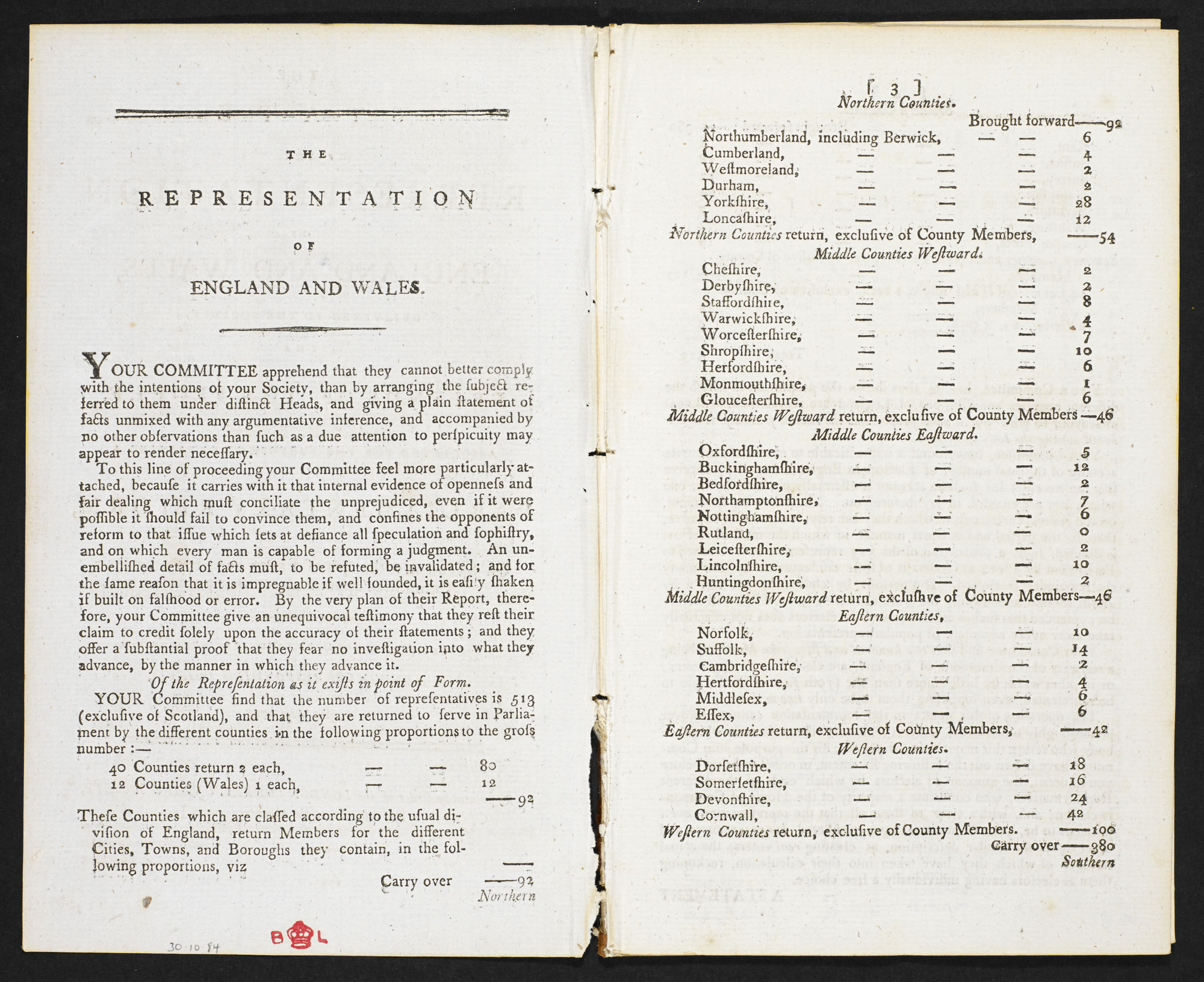 Figures for representatives from counties of England and Wales [page: 2-3]
