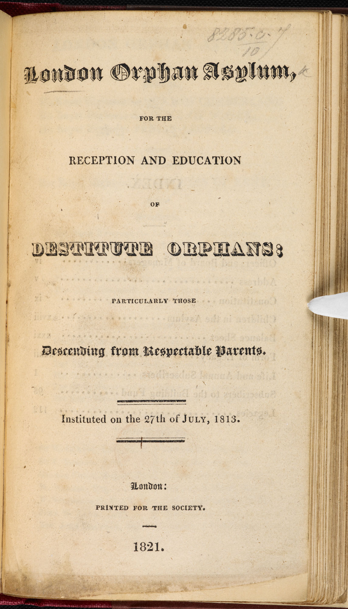 Outline of the London Orphan Asylum [page: title page]