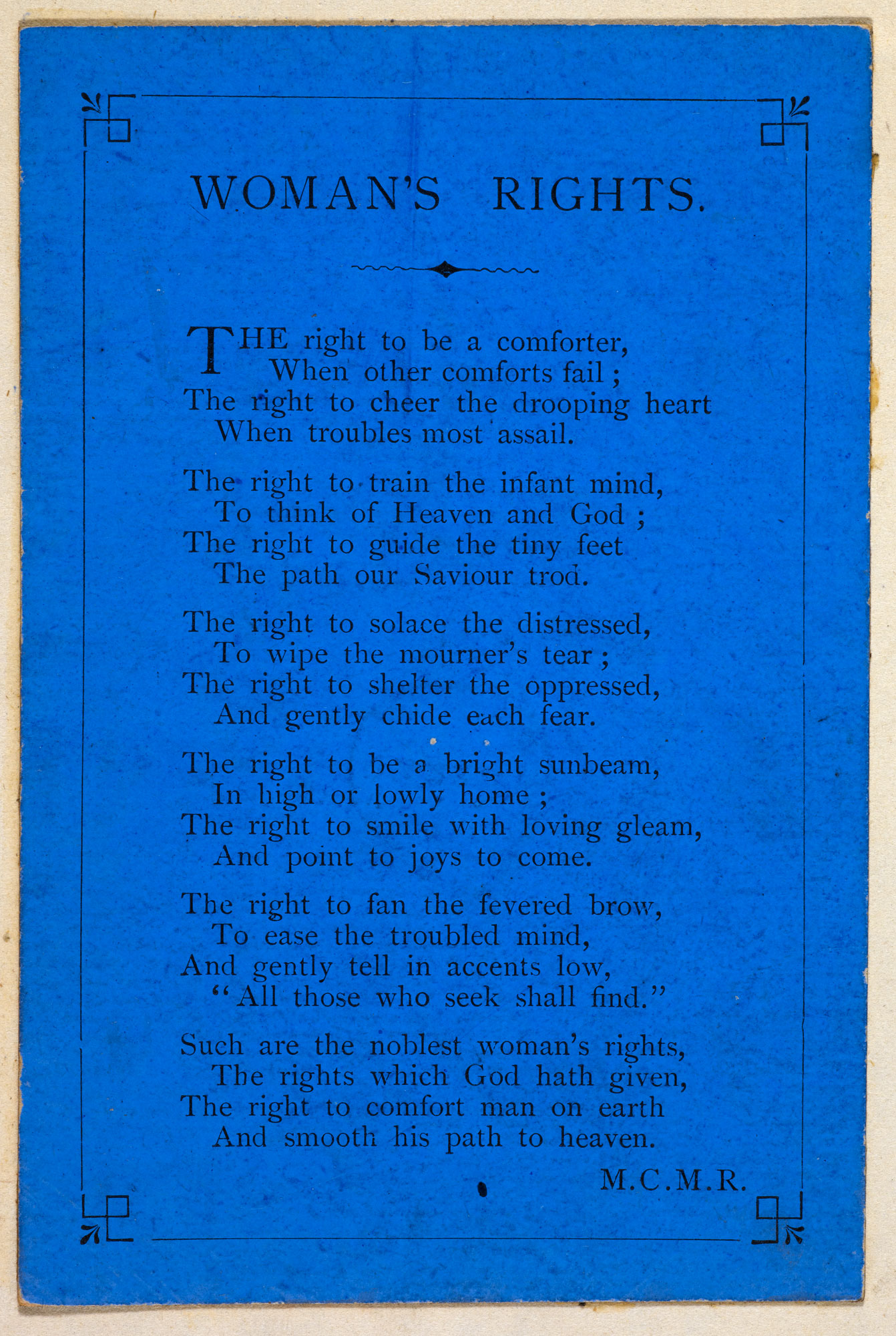 96a2fd90d8bef A 19th century poem on 'Woman's Rights' [page: single sheet]
