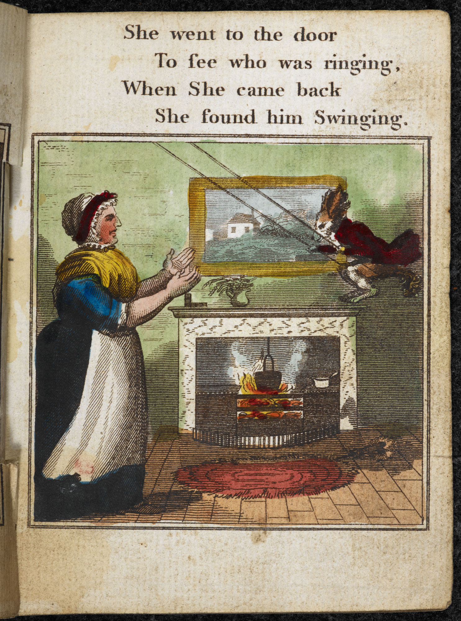 Old Mother Hubbard chapbook [page: ['She went to the door']]