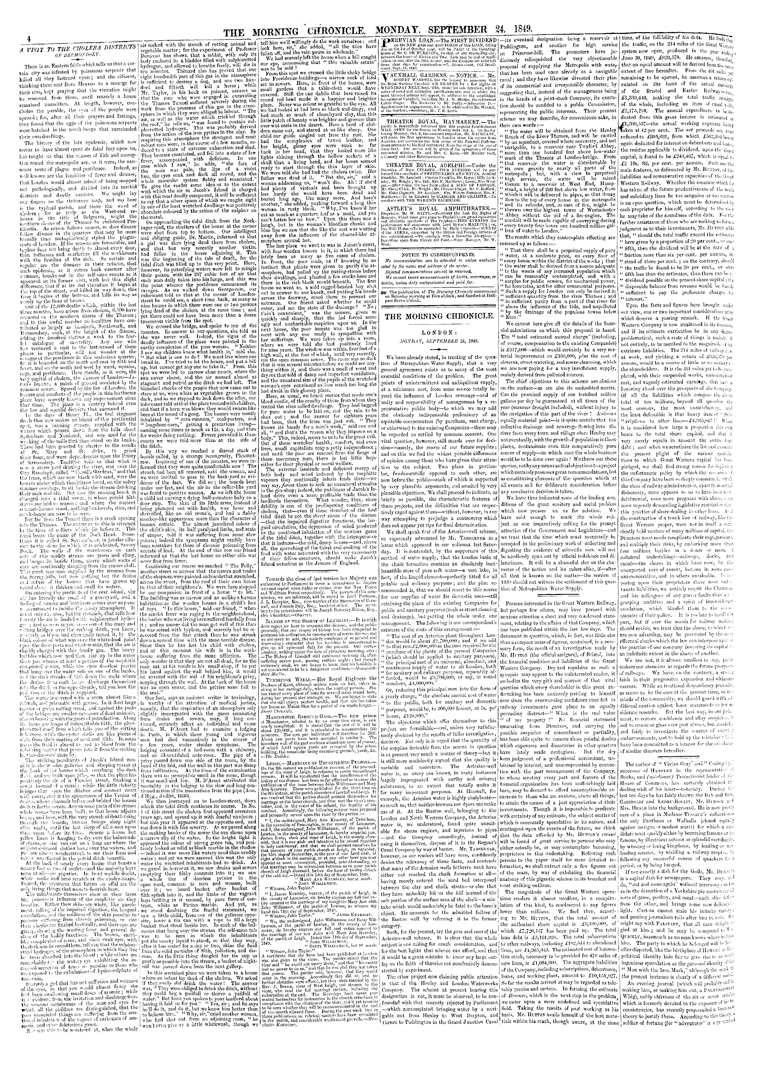 Article by Henry Mayhew on the cholera districts of Bermondsey, London, published in the Morning Chronicle [page: 4]