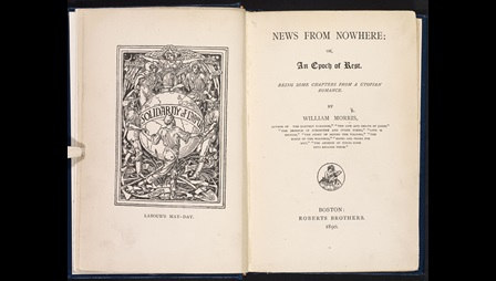Title page from William Morris's News from Nowhere, with facing illustration of a globe surrounded by figures holding hands