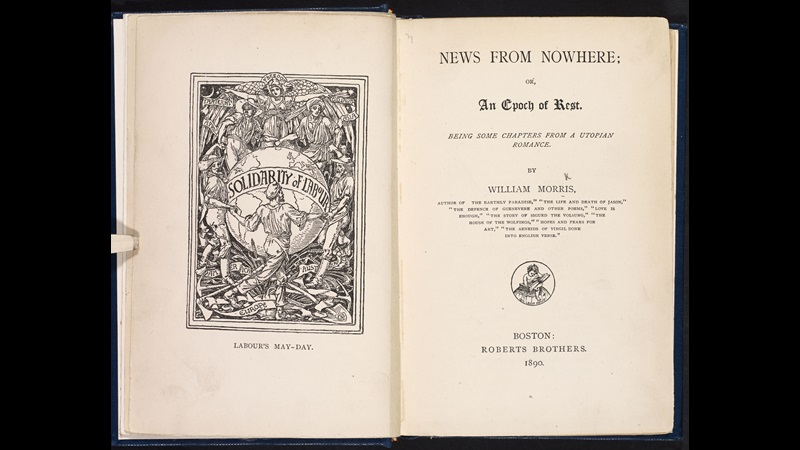 William Morris's News from Nowhere [page: frontispiece and title page]
